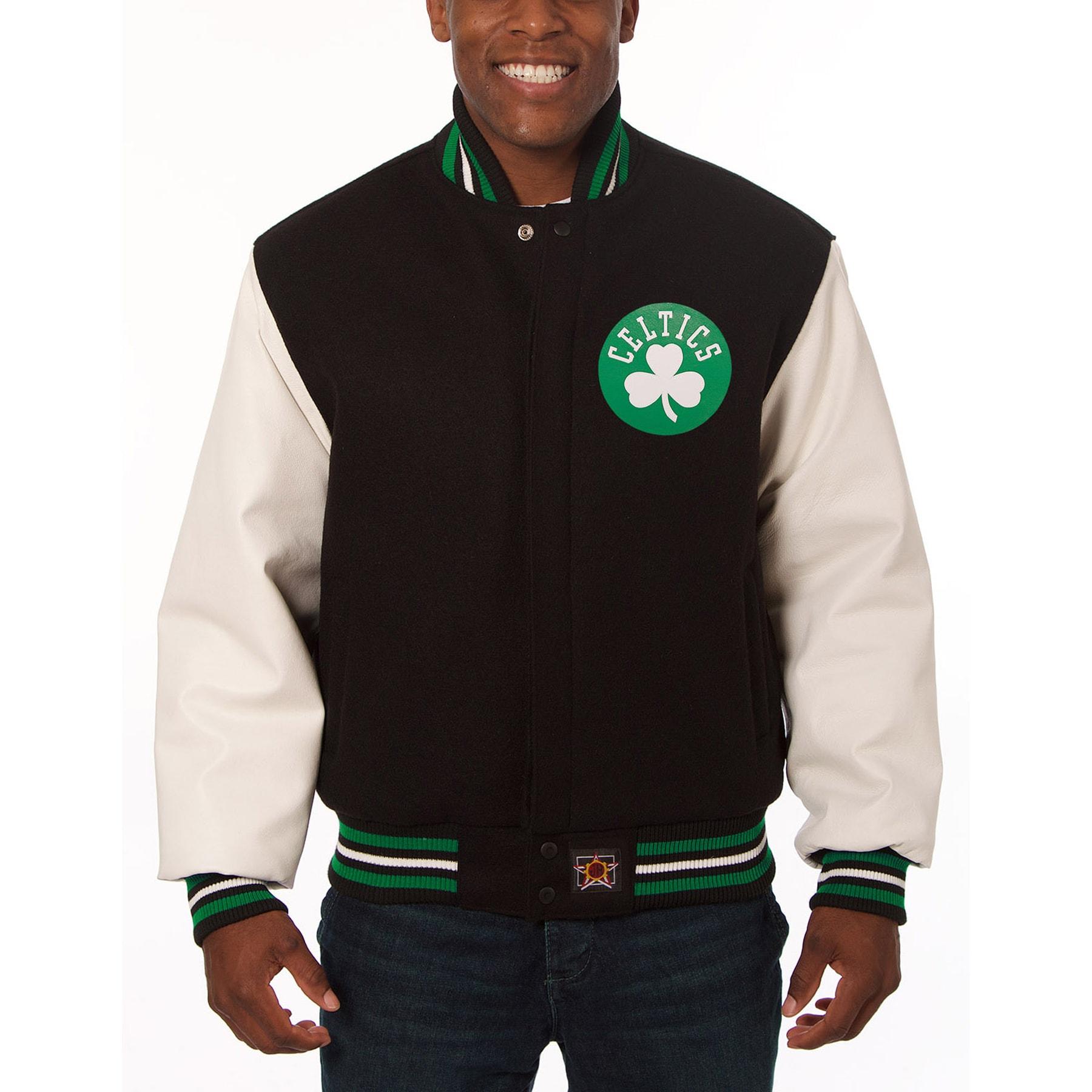 Boston Celtics JH Design Domestic Two-Tone Wool and Leather Jacket - Black