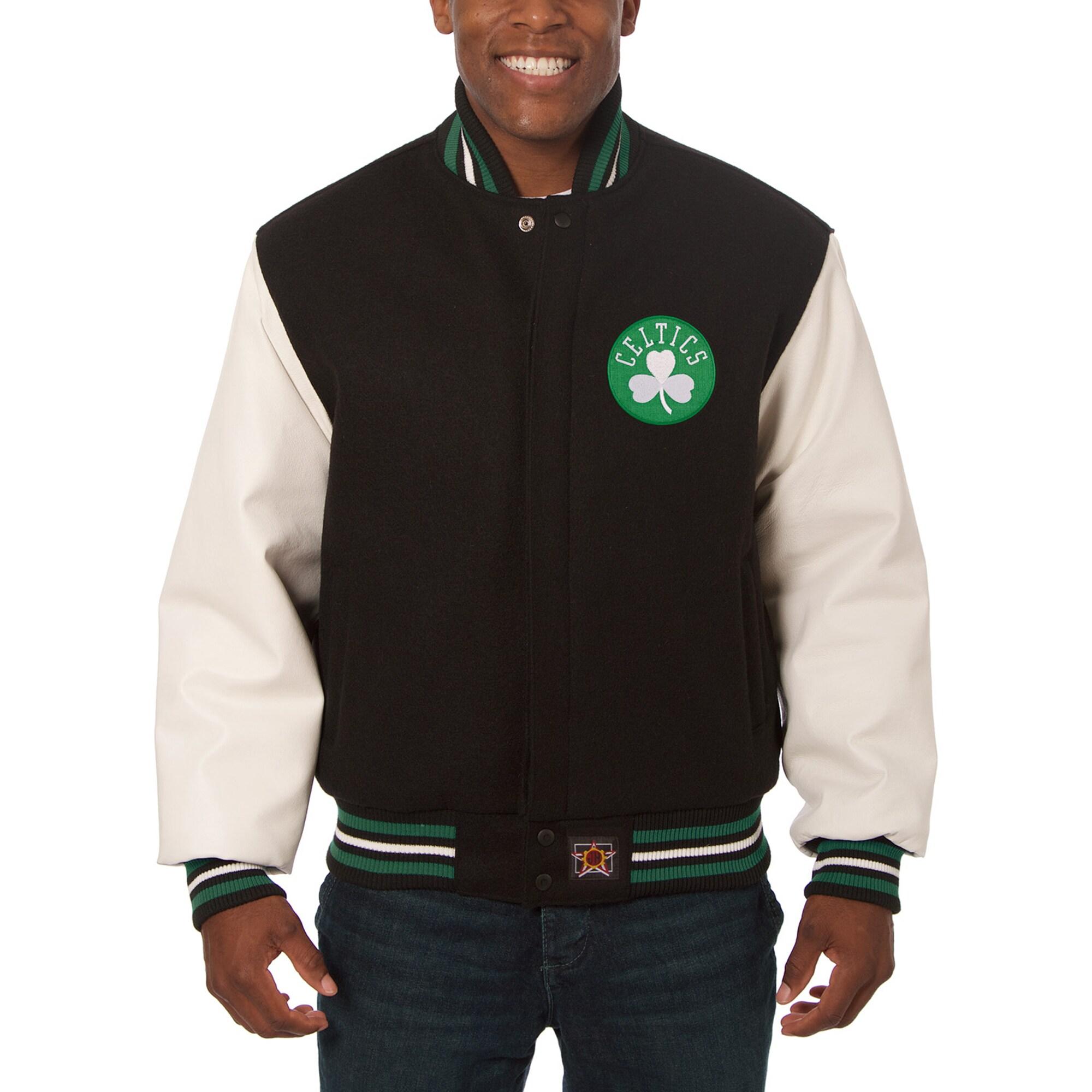 Boston Celtics JH Design Big & Tall Wool & Leather Jacket - Black/White