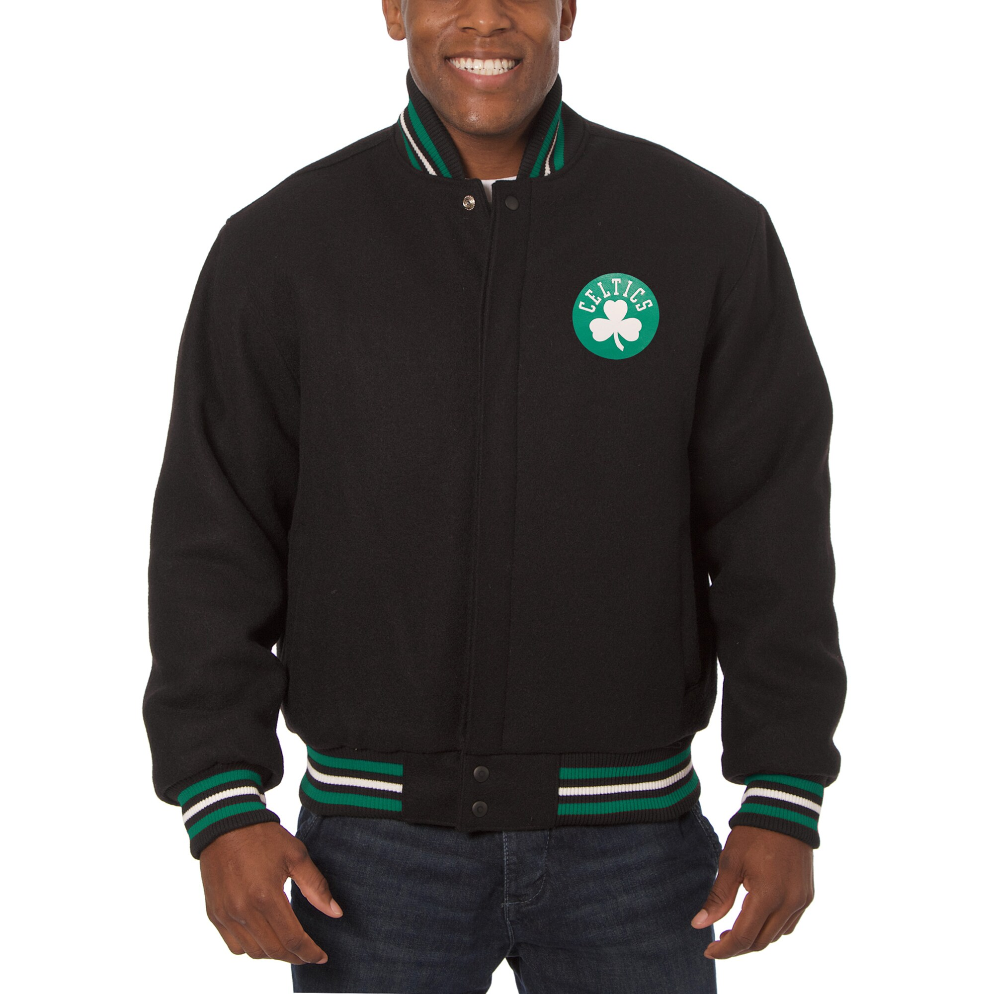 Boston Celtics JH Design Big & Tall All Wool Jacket with Leather Logo - Black
