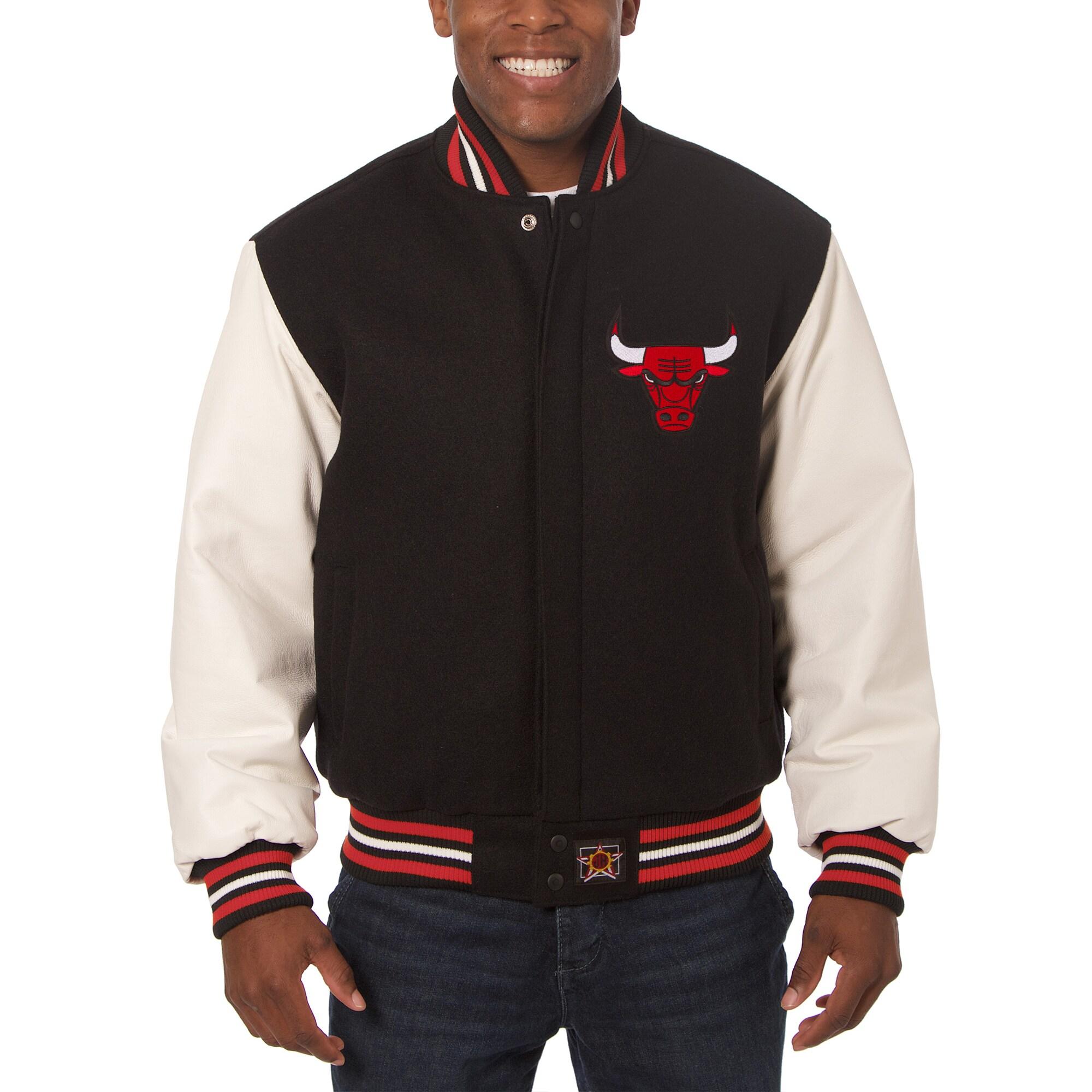 Chicago Bulls JH Design Big & Tall Wool & Leather Jacket - Black/White