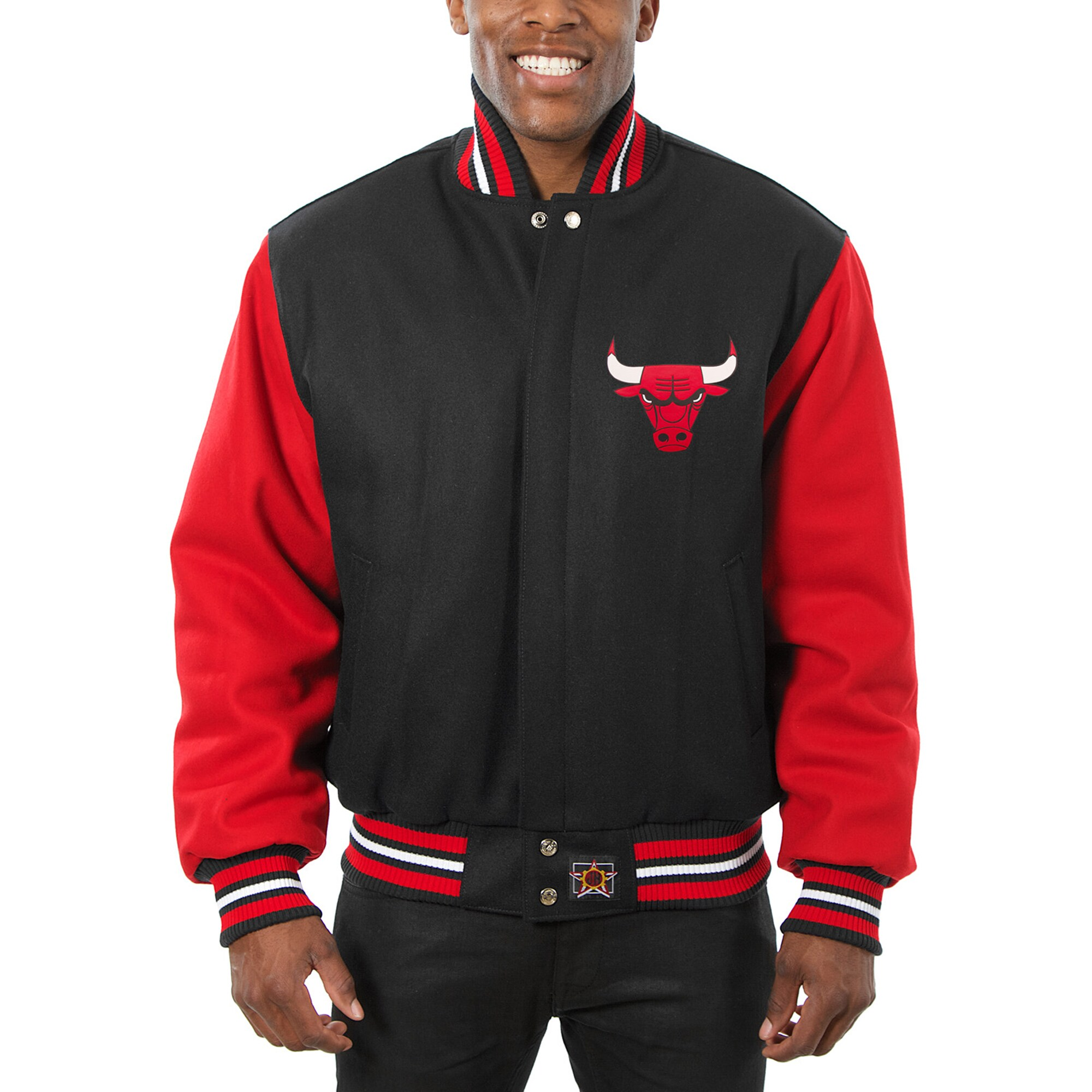 Chicago Bulls JH Design Big & Tall All Wool Jacket with Leather Logo - Black/Red