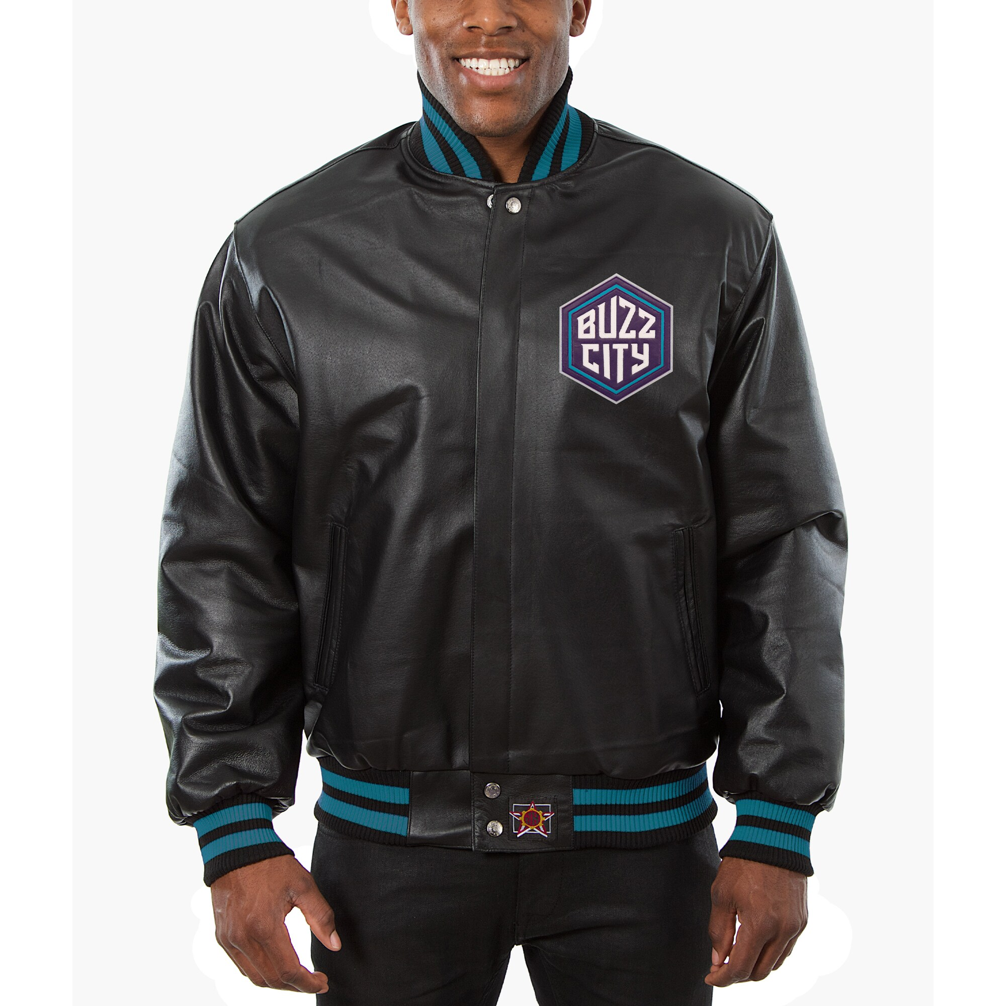 Charlotte Hornets JH Design Big & Tall All-Leather Logo Full-Snap Jacket - Black