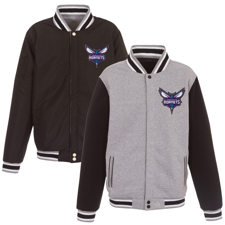 Charlotte Hornets JH Design Embroidered Logo Reversible Fleece Full-Snap Jacket - Gray/Black