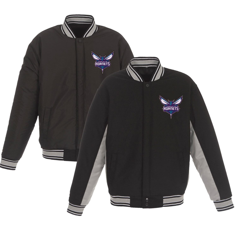 Charlotte Hornets JH Design Reversible Wool & Poly-Twill Full-Snap Jacket - Black/Gray