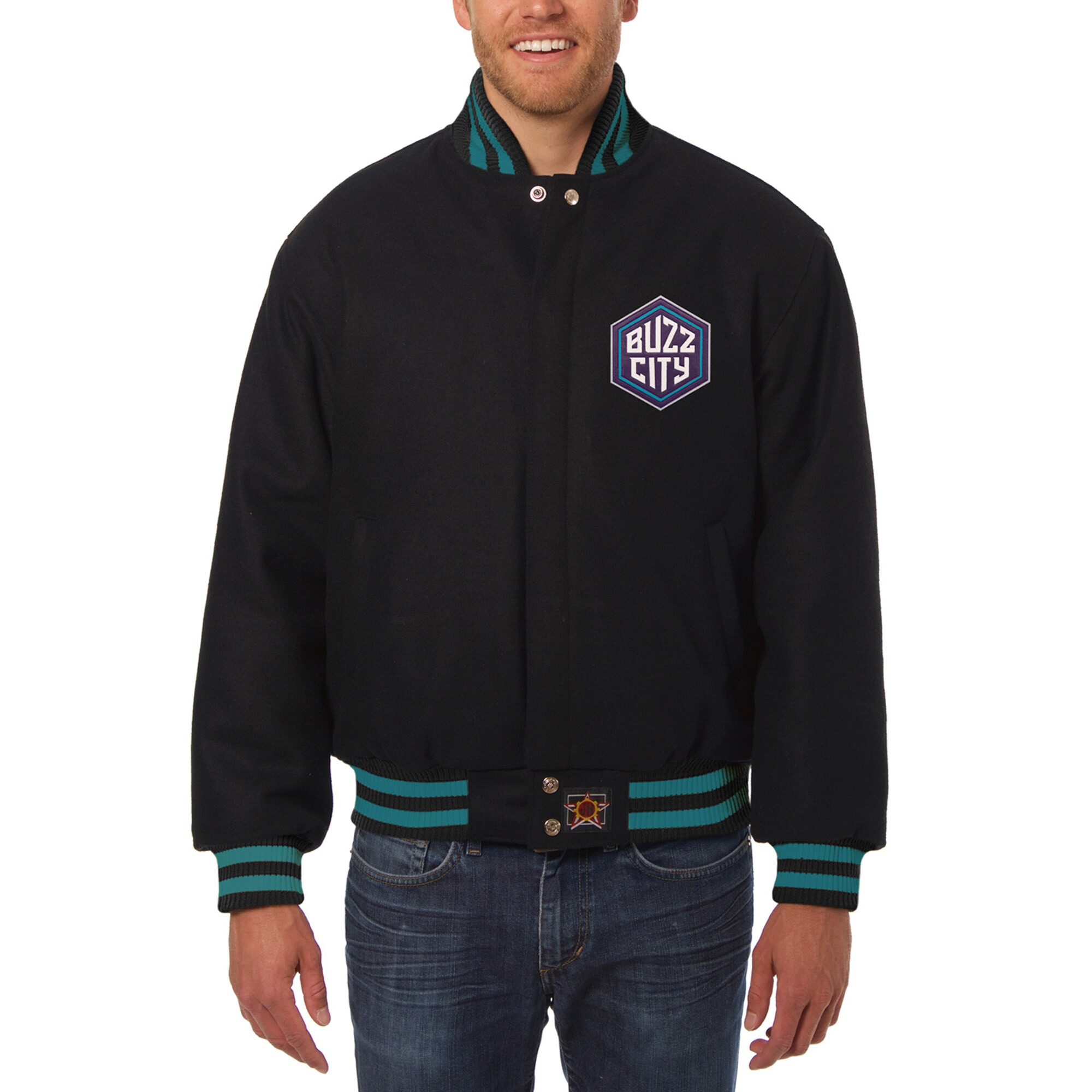 Charlotte Hornets JH Design Big & Tall All Wool Jacket with Leather Logo - Black