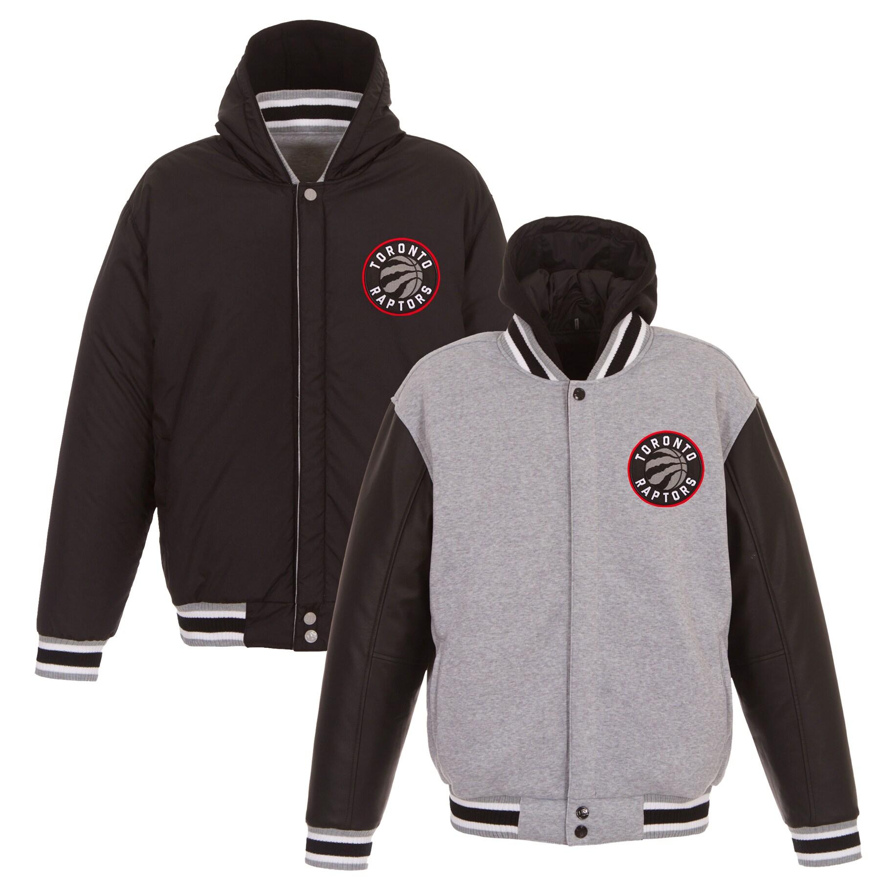 Toronto Raptors JH Design Embroidered Logo Reversible Hooded Fleece Full-Snap Jacket - Gray/Black