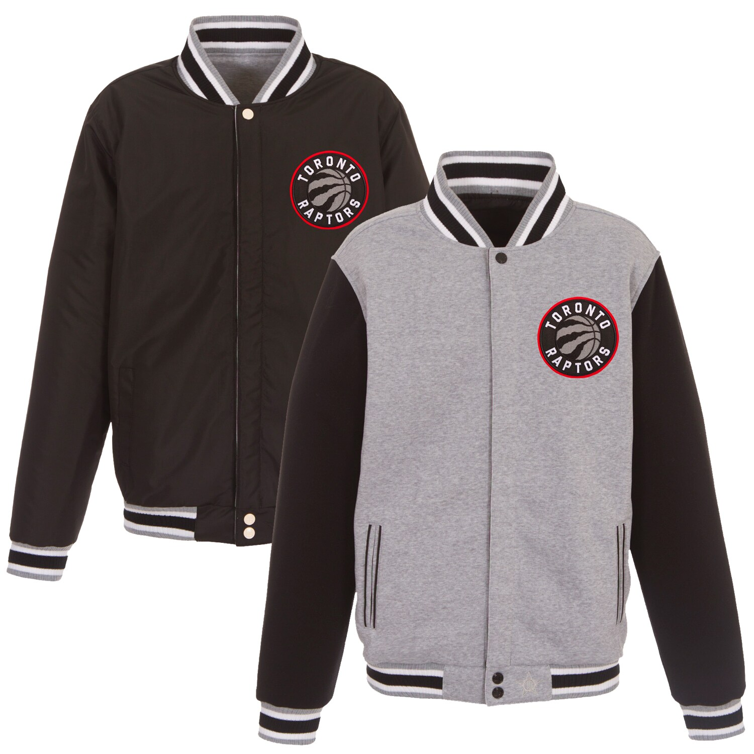 Toronto Raptors JH Design Embroidered Logo Reversible Fleece Full-Snap Jacket - Gray/Black