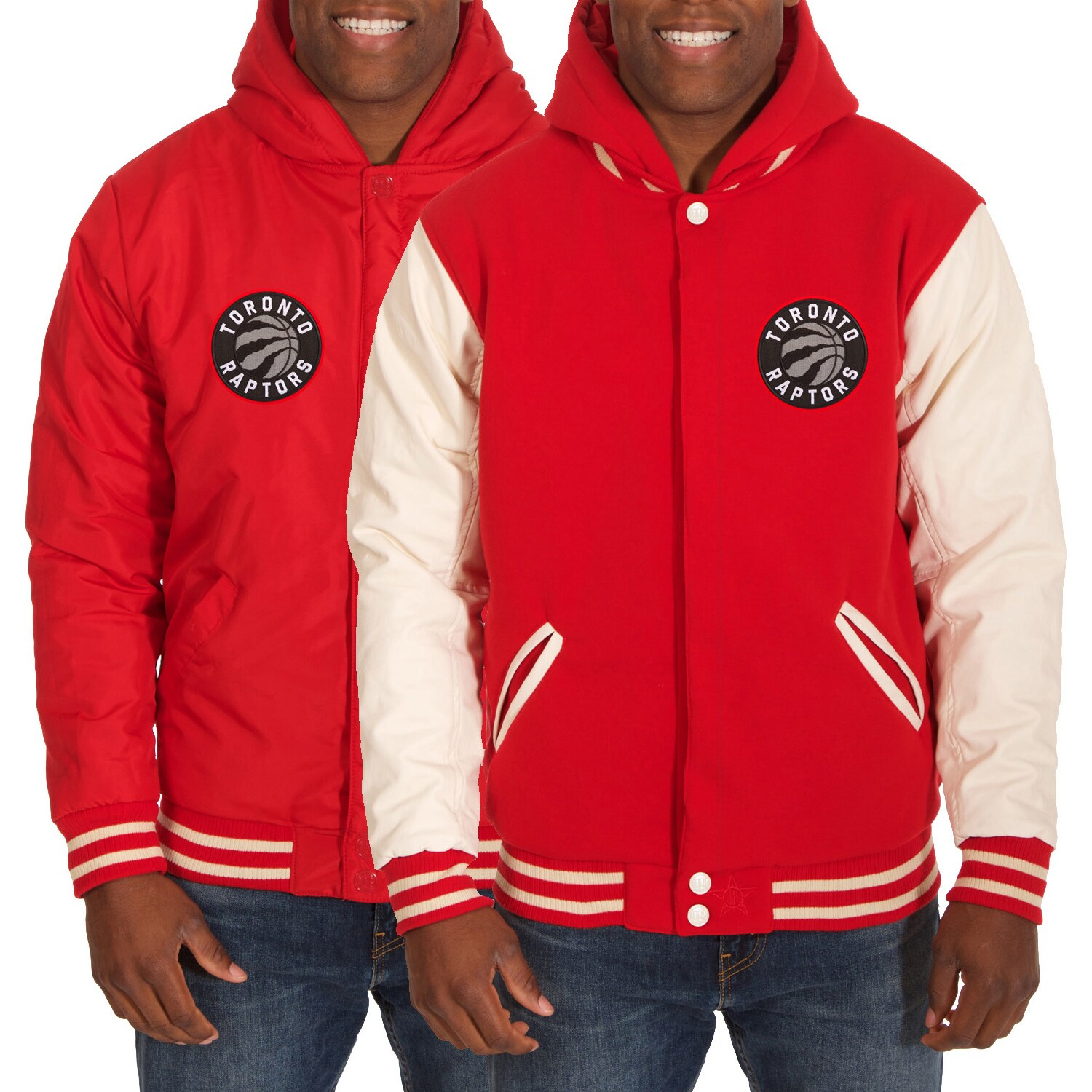 Toronto Raptors JH Design Reversible Fleece/Faux Leather Jacket - Red