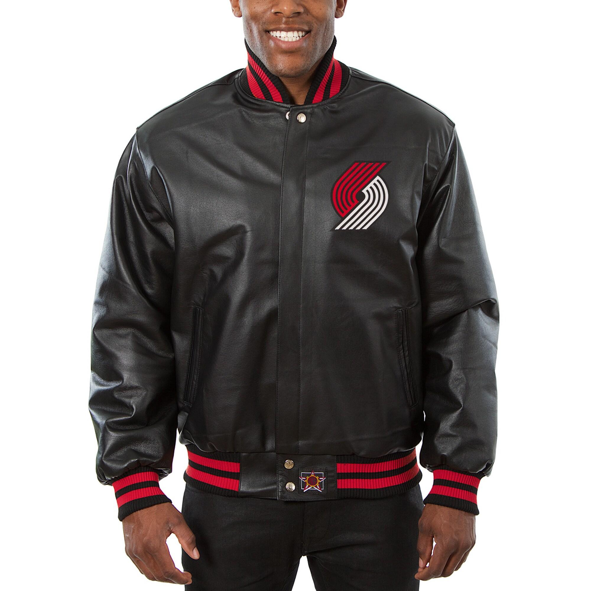 Portland Trail Blazers JH Design Big & Tall All-Leather Full-Snap Jacket - Black