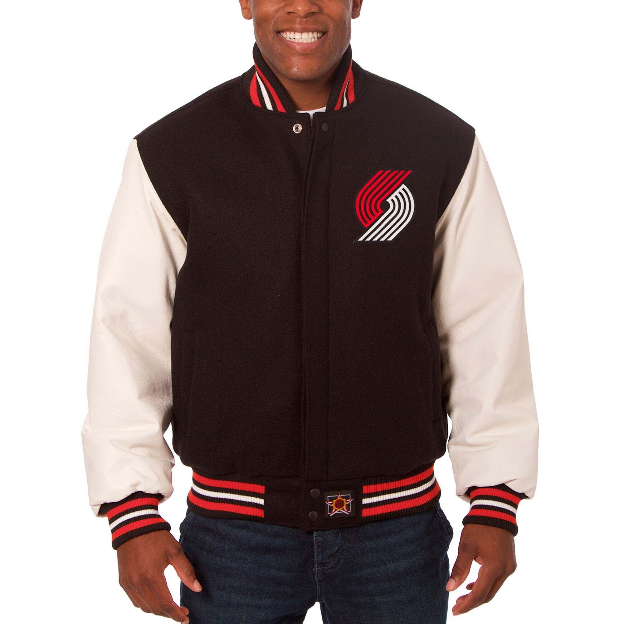 Portland Trail Blazers JH Design Big & Tall Wool & Leather Full-Snap Jacket - Black/White