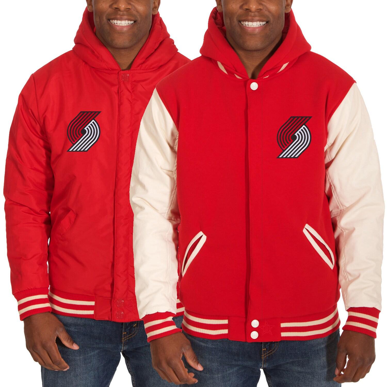 Portland Trail Blazers JH Design Reversible Fleece/Faux Leather Jacket - Red