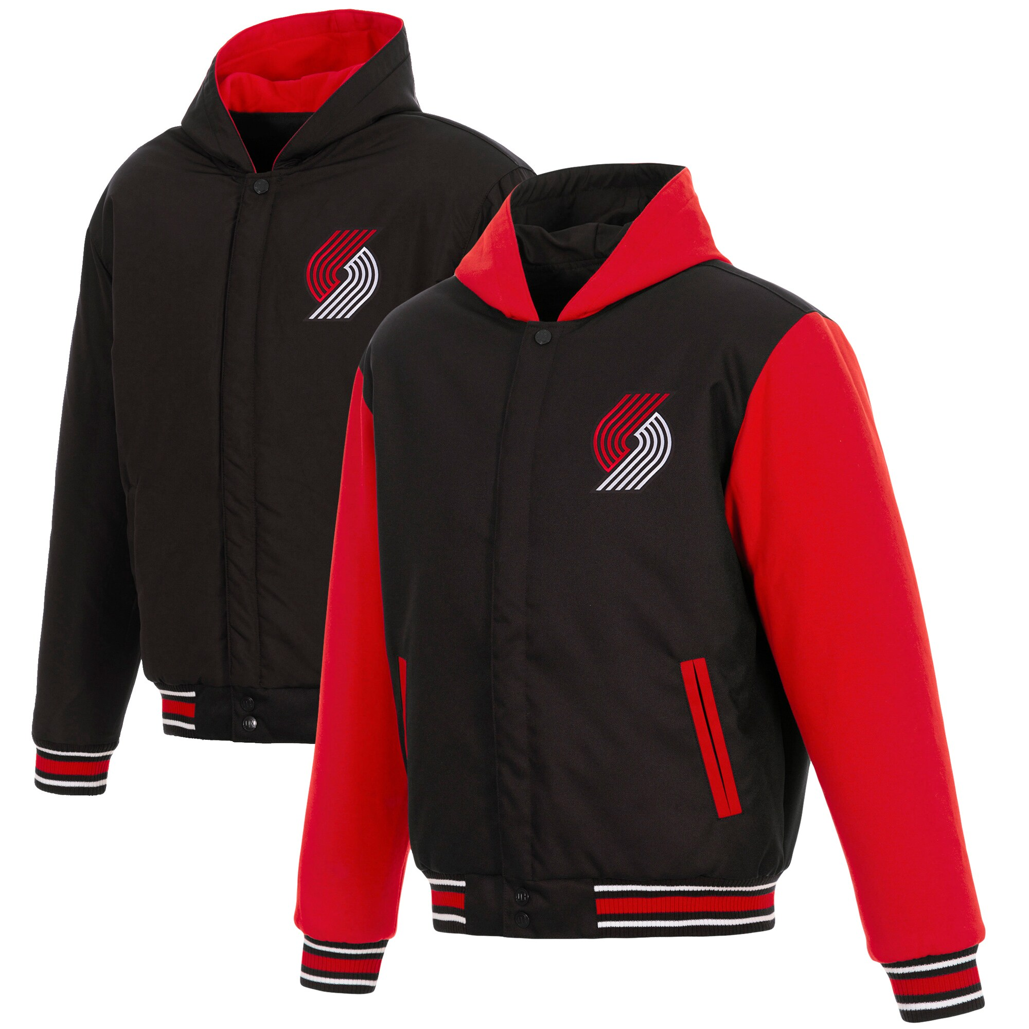 Portland Trail Blazers JH Design Reversible Poly-Twill Hooded Jacket with Fleece Sleeves - Black/Red