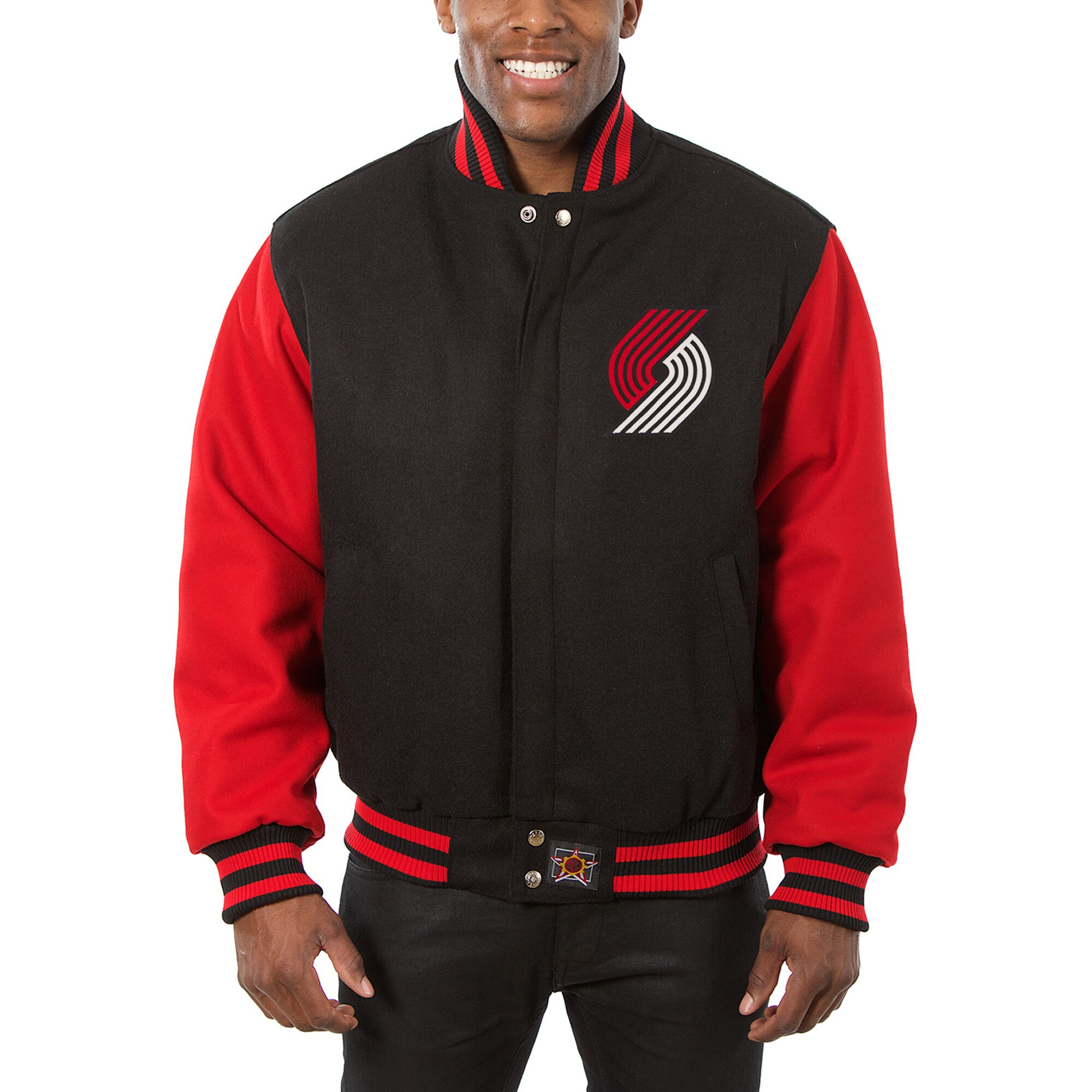 Portland Trail Blazers JH Design Big & Tall All Wool Jacket with Leather Logo - Black/Red