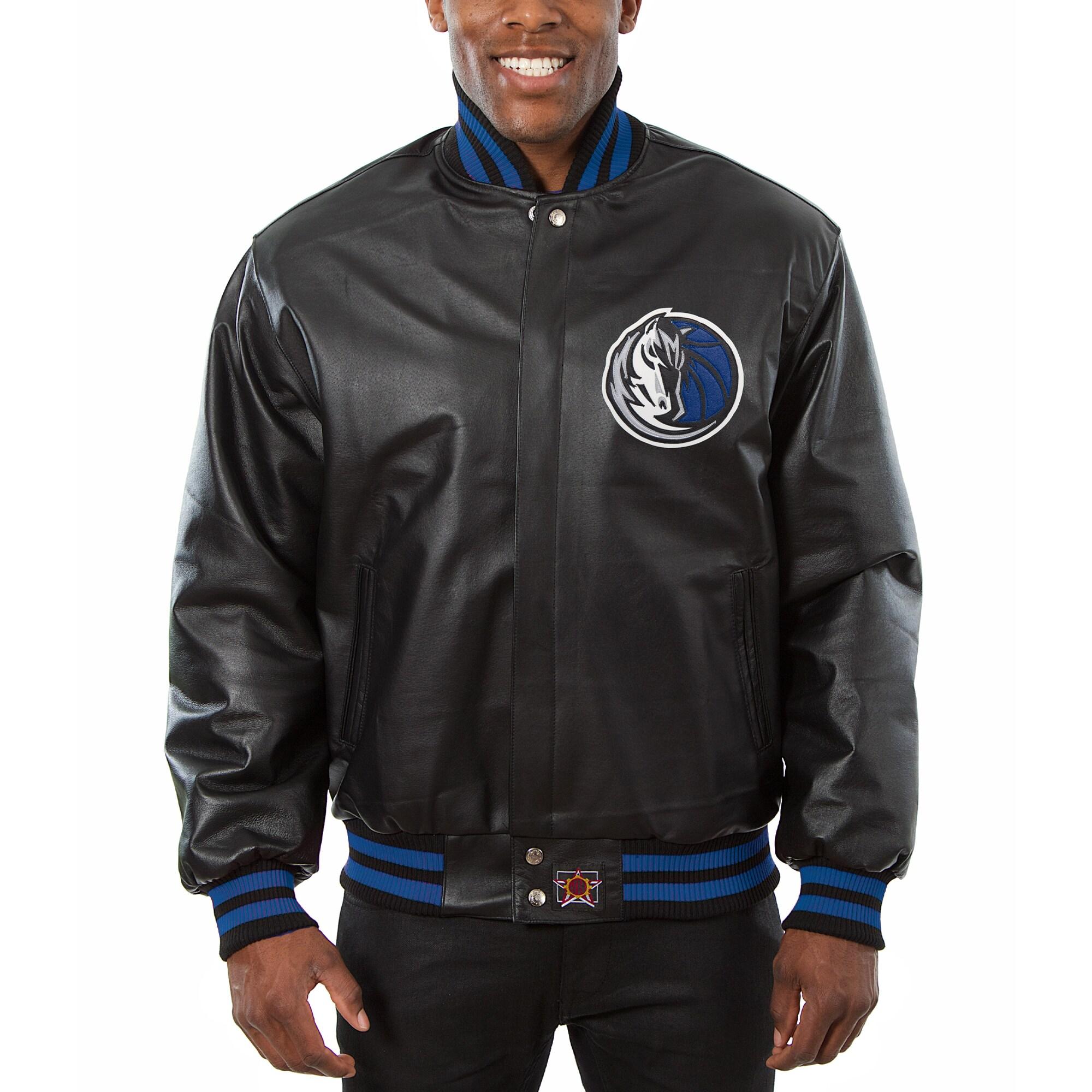 Dallas Mavericks JH Design Big & Tall All-Leather Logo Full-Snap Jacket - Black