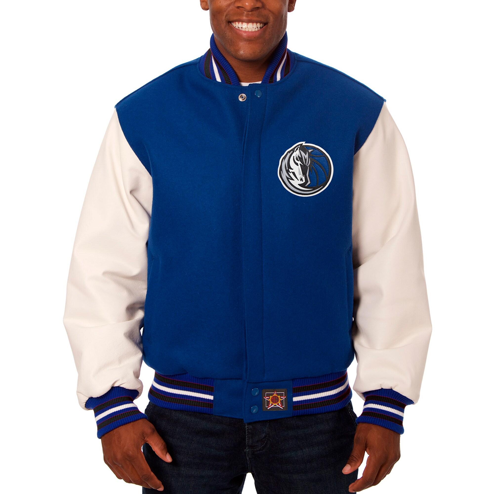 Dallas Mavericks JH Design Big & Tall Wool & Leather Full-Snap Jacket - Blue/White