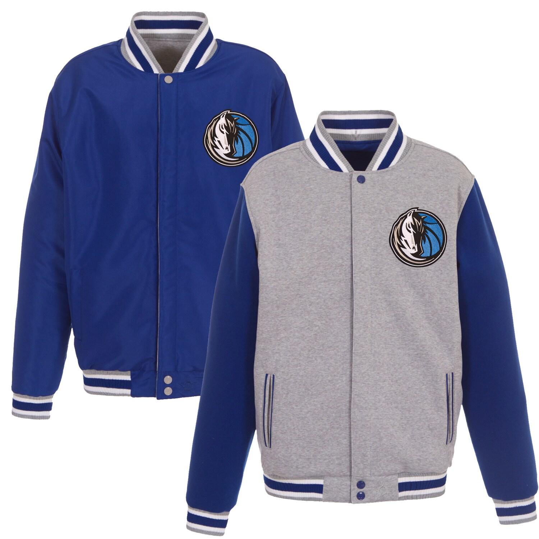 Dallas Mavericks JH Design Embroidered Logo Reversible Fleece Full-Snap Jacket - Gray/Royal