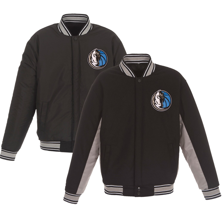 Dallas Mavericks JH Design Reversible Wool & Poly-Twill Full-Snap Jacket - Black/Gray