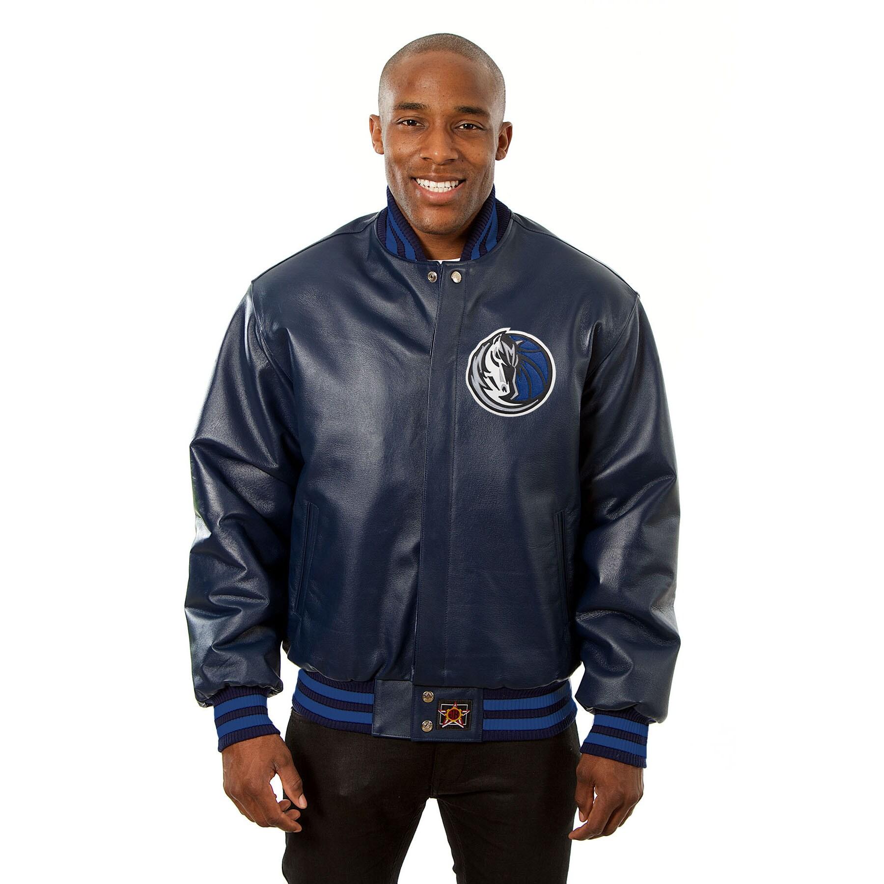 Dallas Mavericks JH Design Domestic Team Color Leather Jacket - Navy
