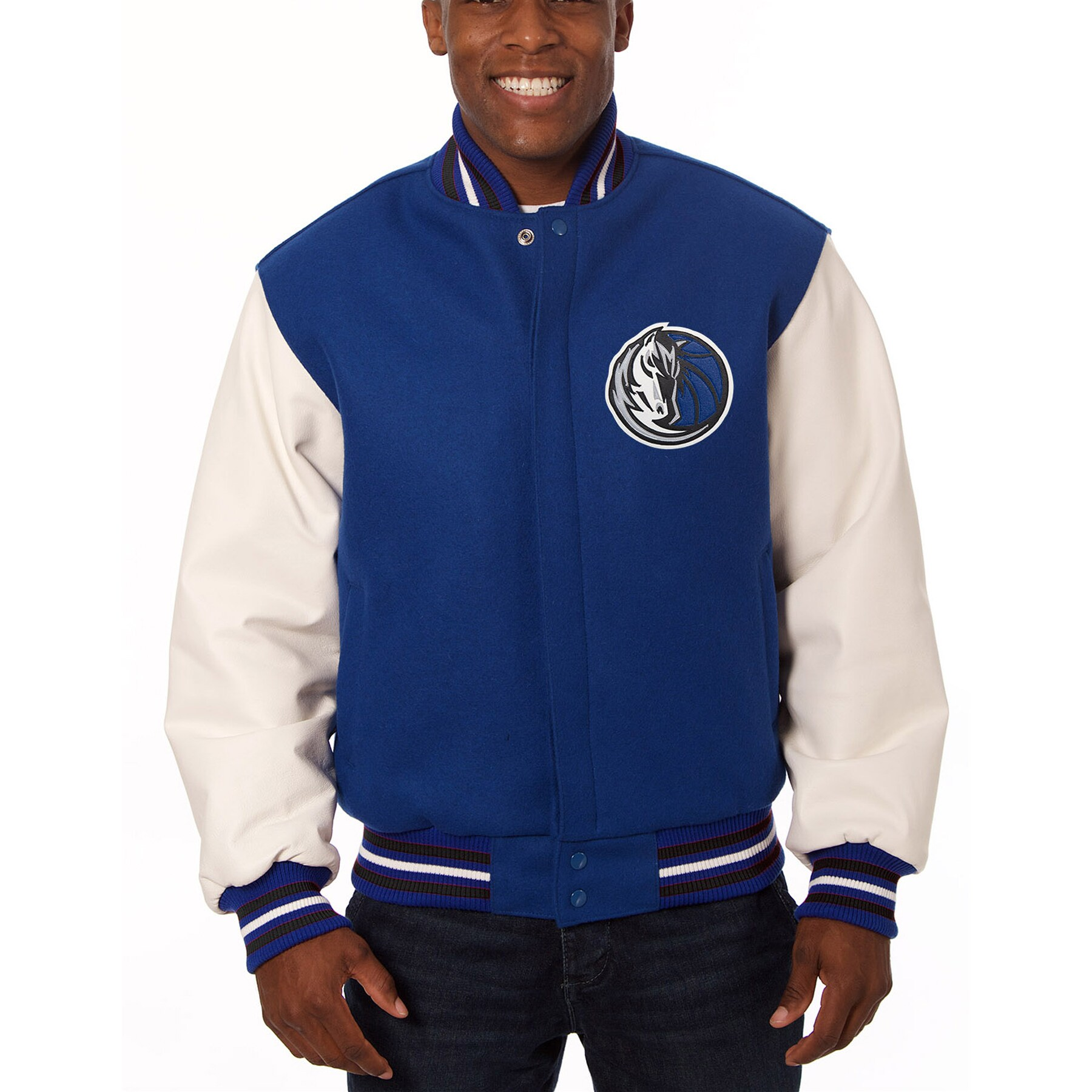 Dallas Mavericks JH Design Domestic Two-Tone Wool and Leather Jacket - Royal