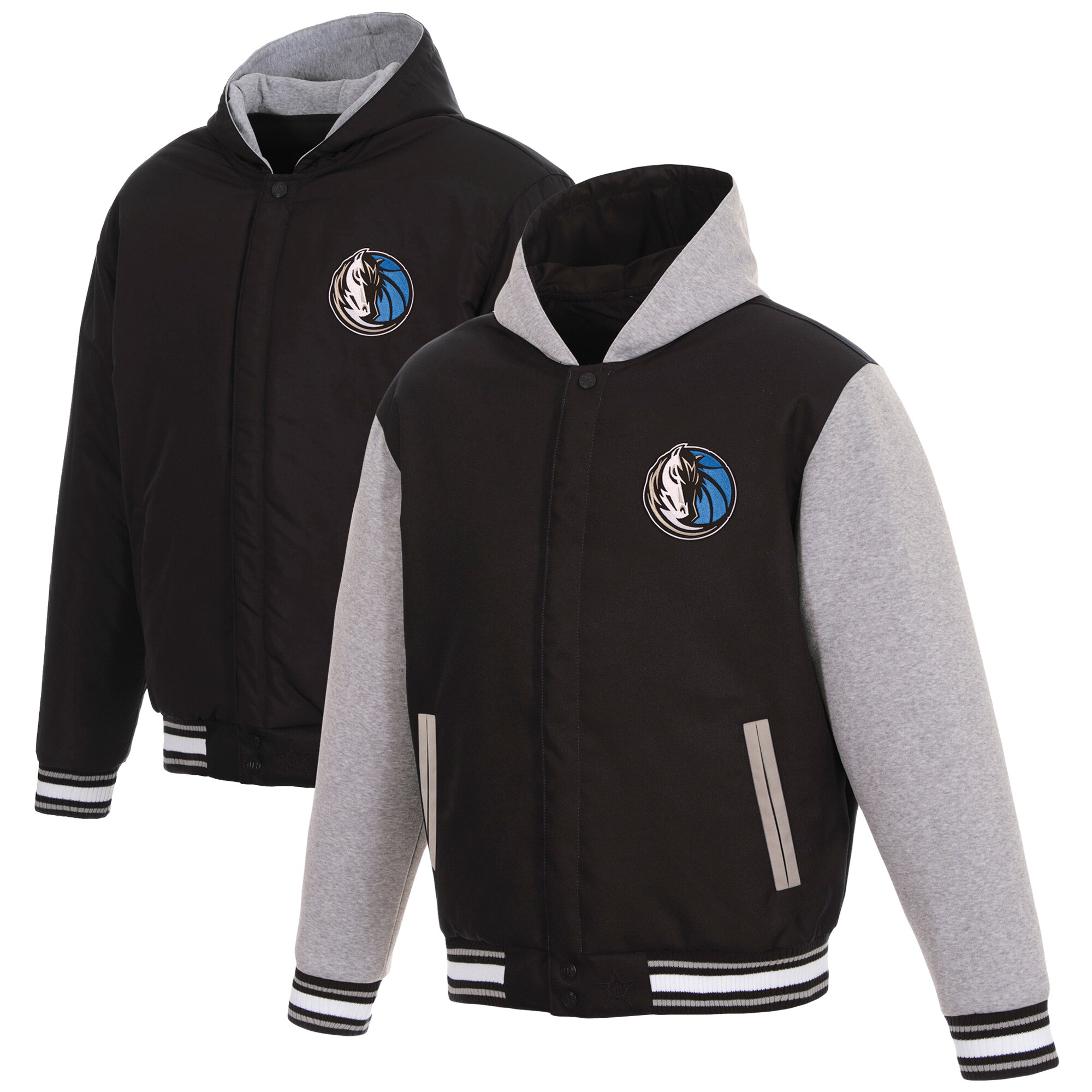 Dallas Mavericks JH Design Reversible Poly-Twill Hooded Jacket with Fleece Sleeves - Black/Gray