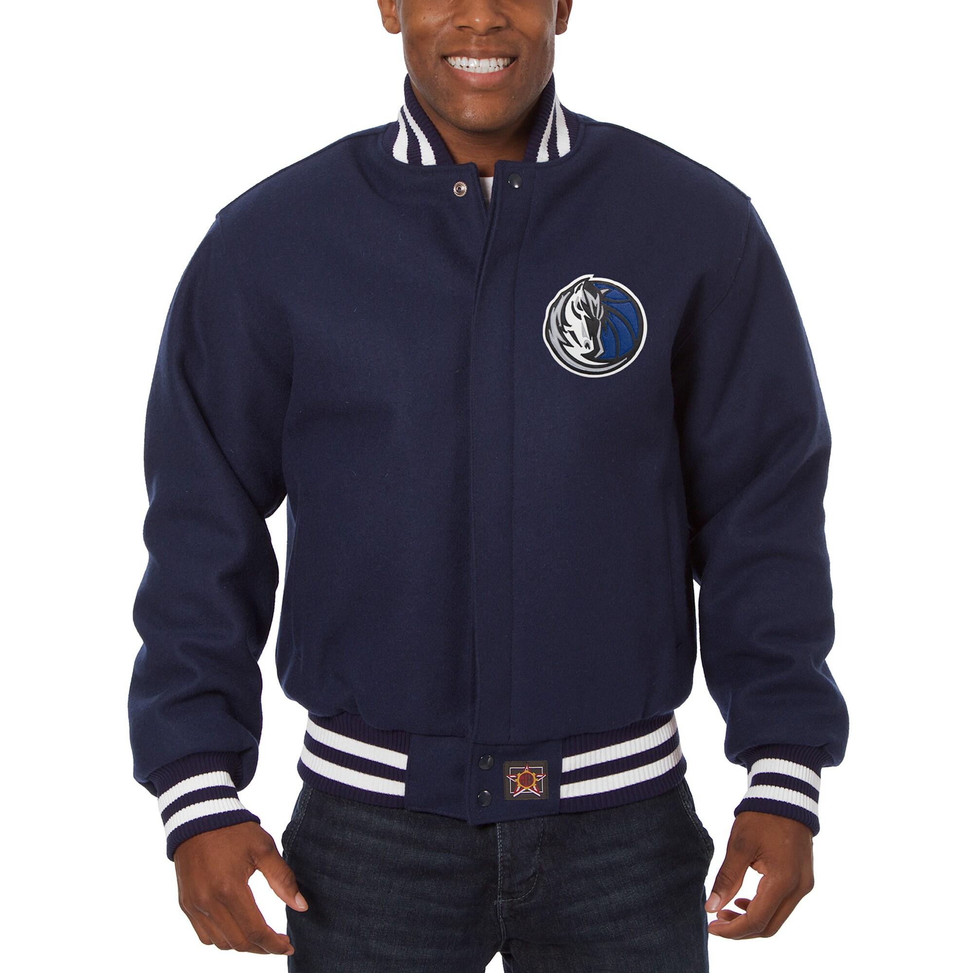 Dallas Mavericks JH Design Big & Tall All Wool Jacket with Leather Logo - Navy
