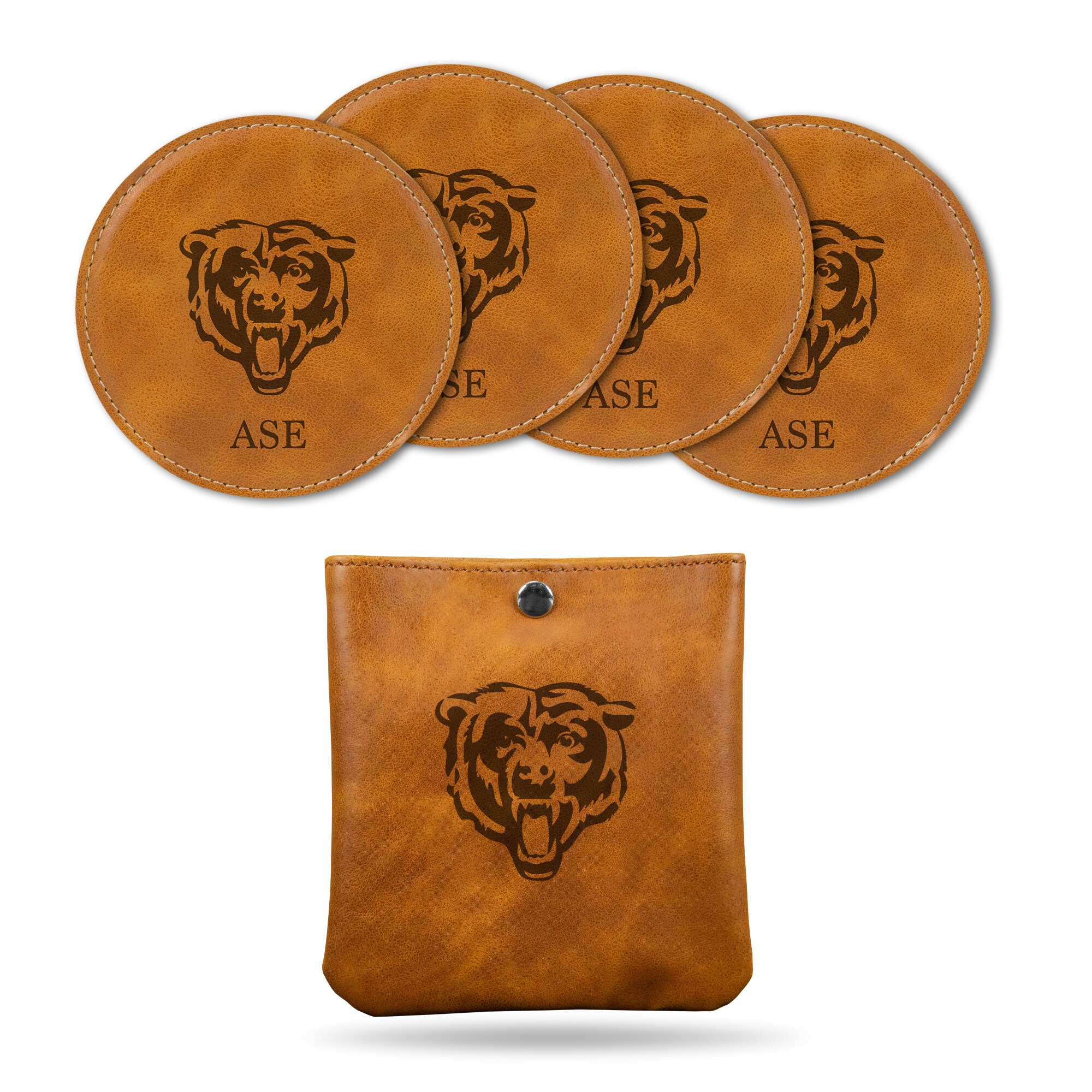 Chicago Bears Sparo 4-Pack Personalized Coaster Set - Brown