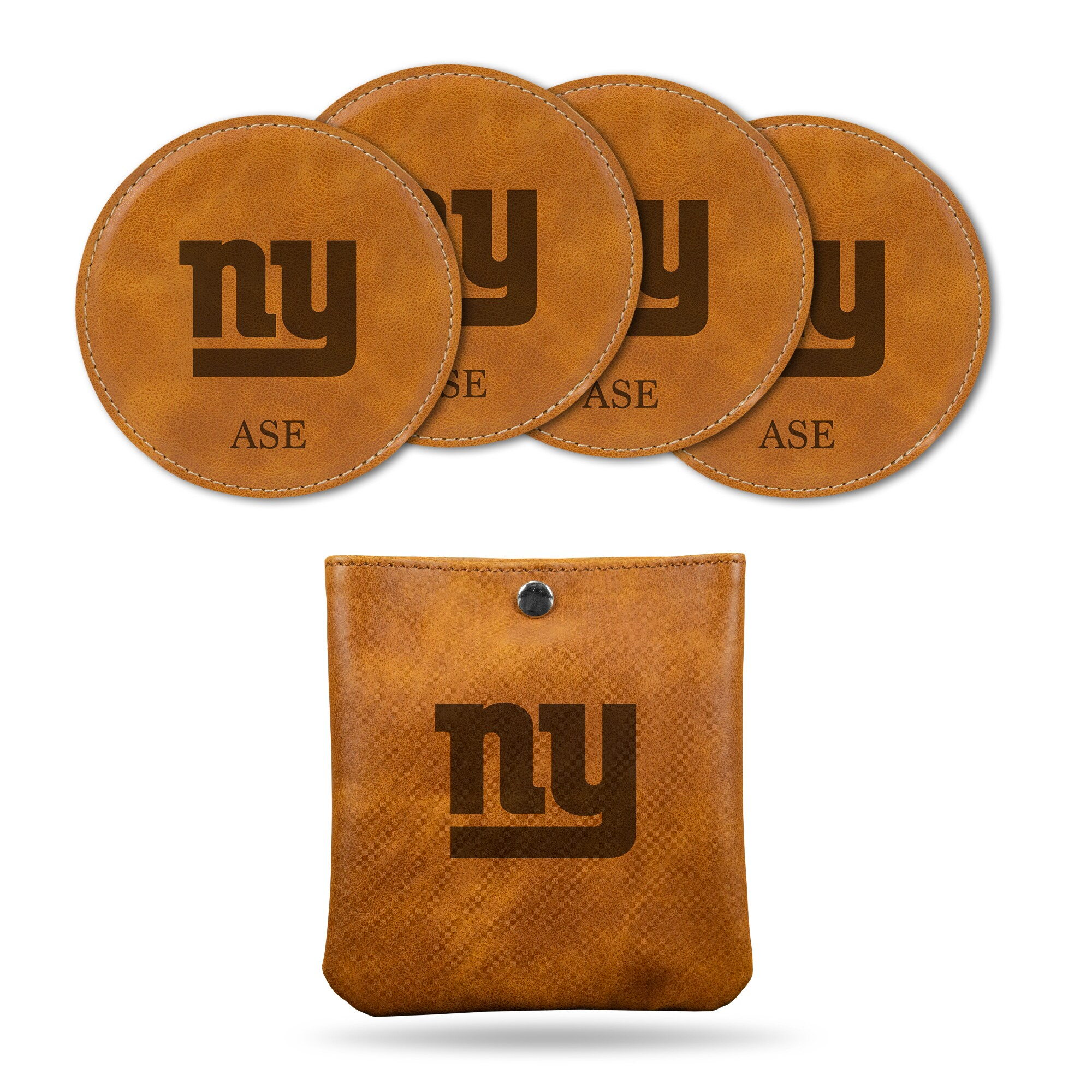 New York Giants Sparo 4-Pack Personalized Coaster Set - Brown