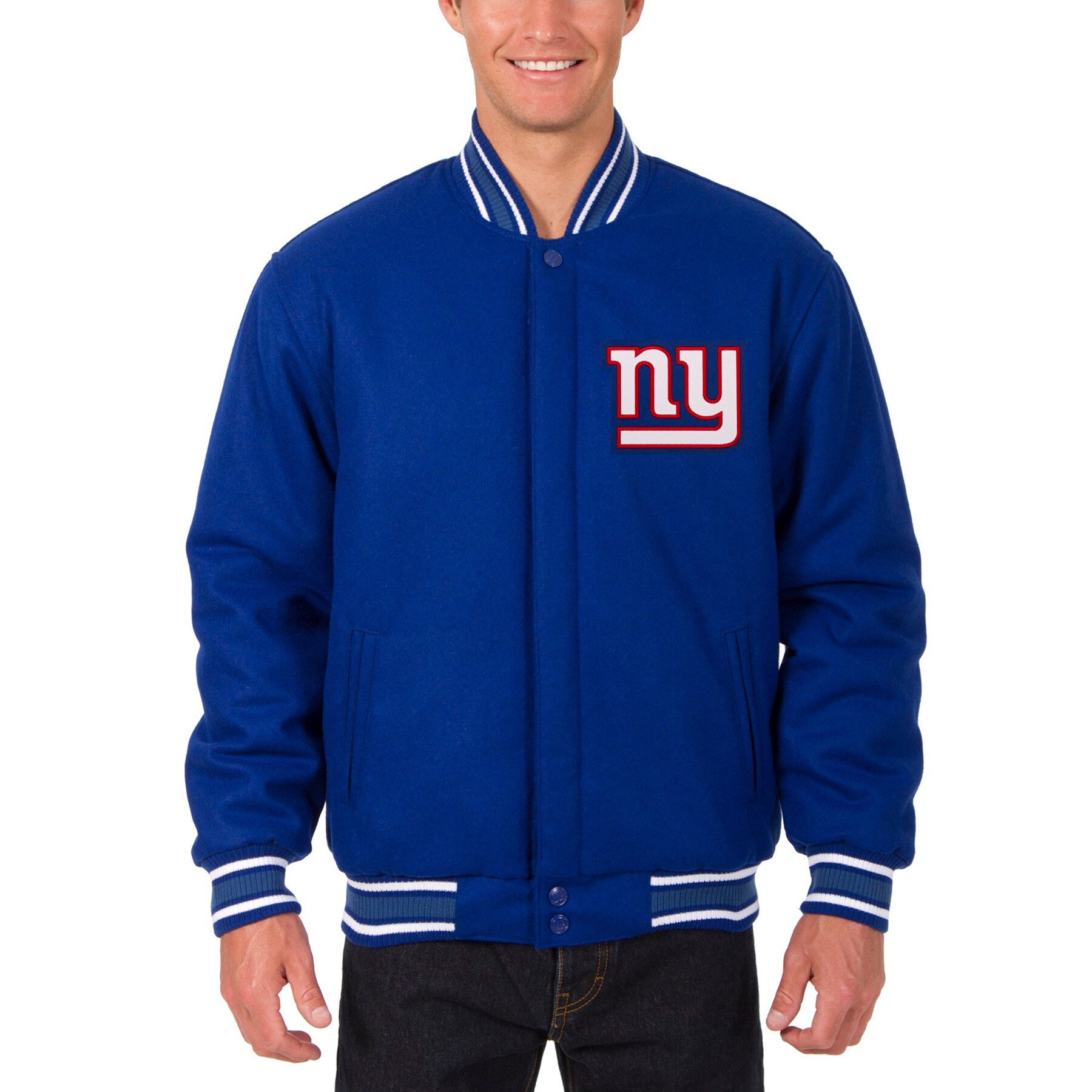 New York Giants JH Design Wool Reversible Jacket with Embroidered Logos - Royal