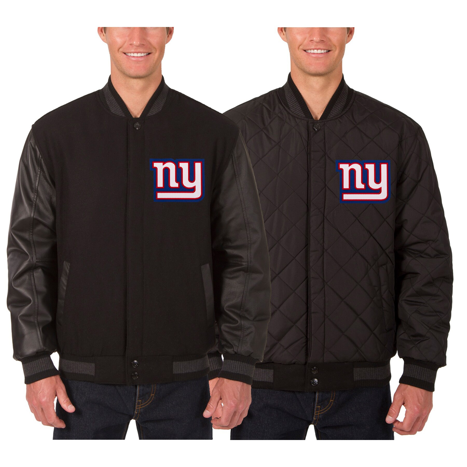 New York Giants JH Design Wool & Leather Reversible Jacket with Embroidered Logos - Black