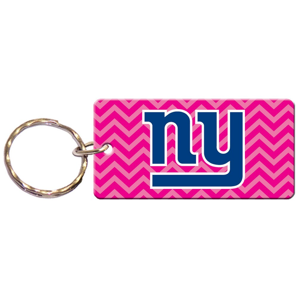 New York Giants Chevron Printed Acrylic Team Color Logo Keychain - Pink