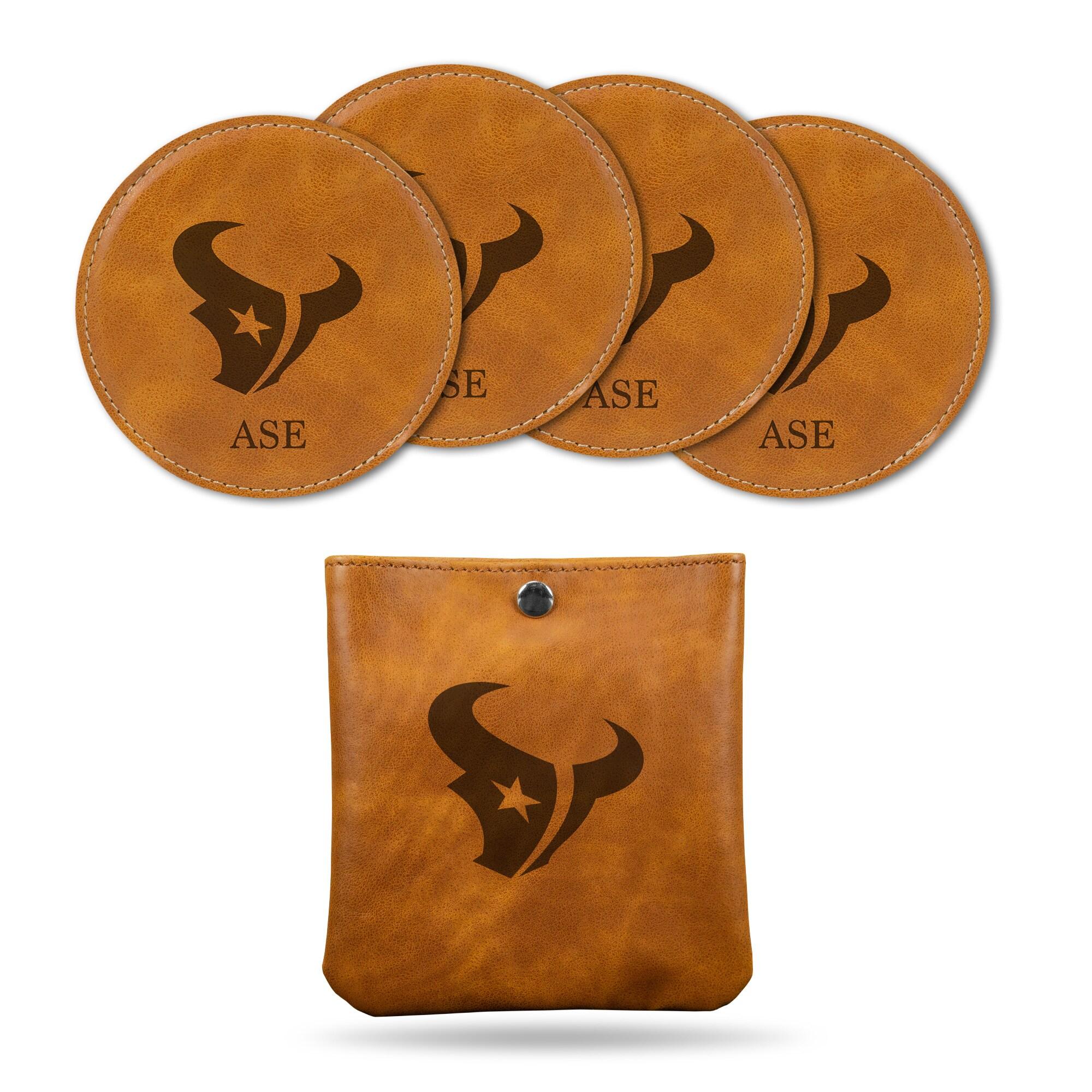 Houston Texans Sparo 4-Pack Personalized Coaster Set - Brown