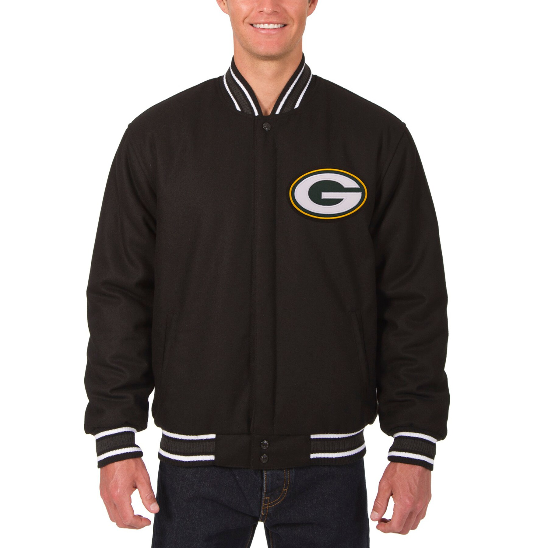 Green Bay Packers JH Design Wool Reversible Jacket with Embroidered Logos - Black