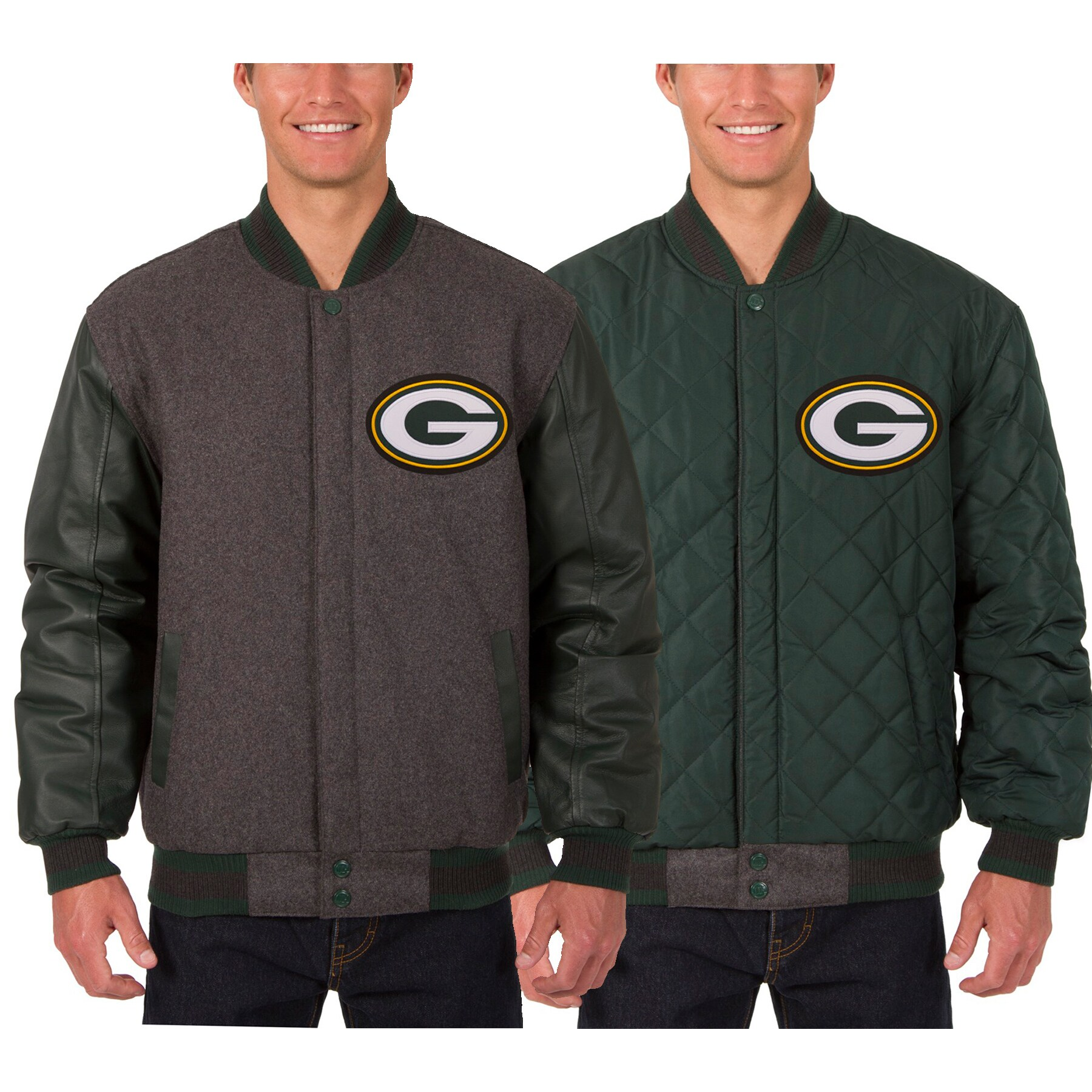 Green Bay Packers JH Design Wool & Leather Reversible Jacket with Embroidered Logos - Black