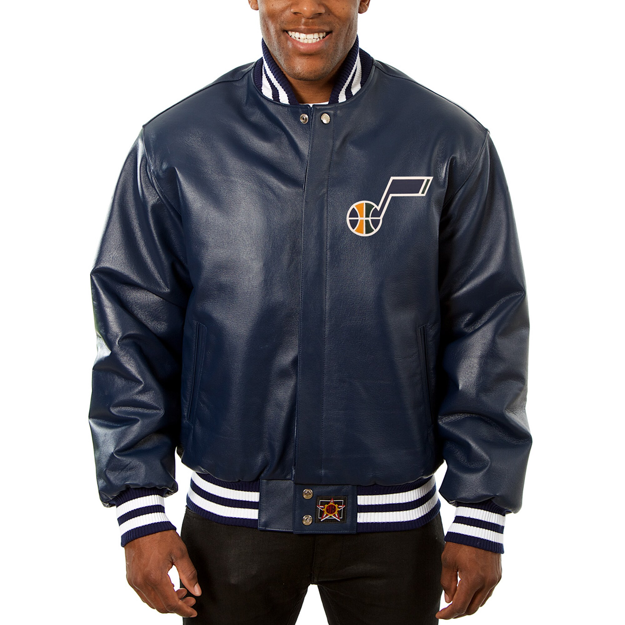 Utah Jazz JH Design Big & Tall All-Leather Logo Full-Snap Jacket - Navy