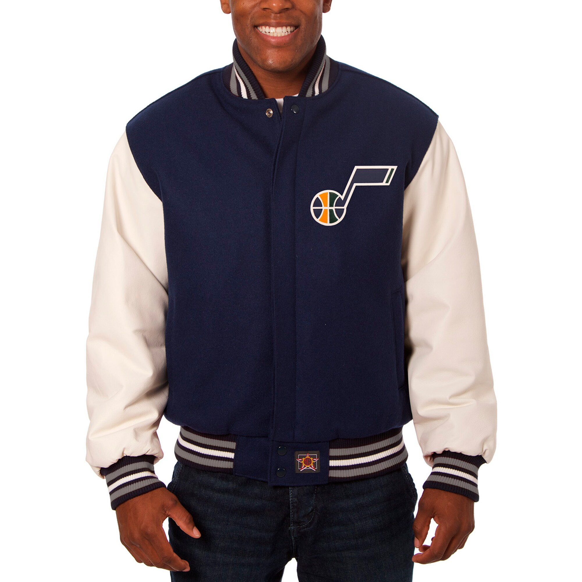 Utah Jazz JH Design Big & Tall Wool & Leather Full-Snap Jacket - Navy/White