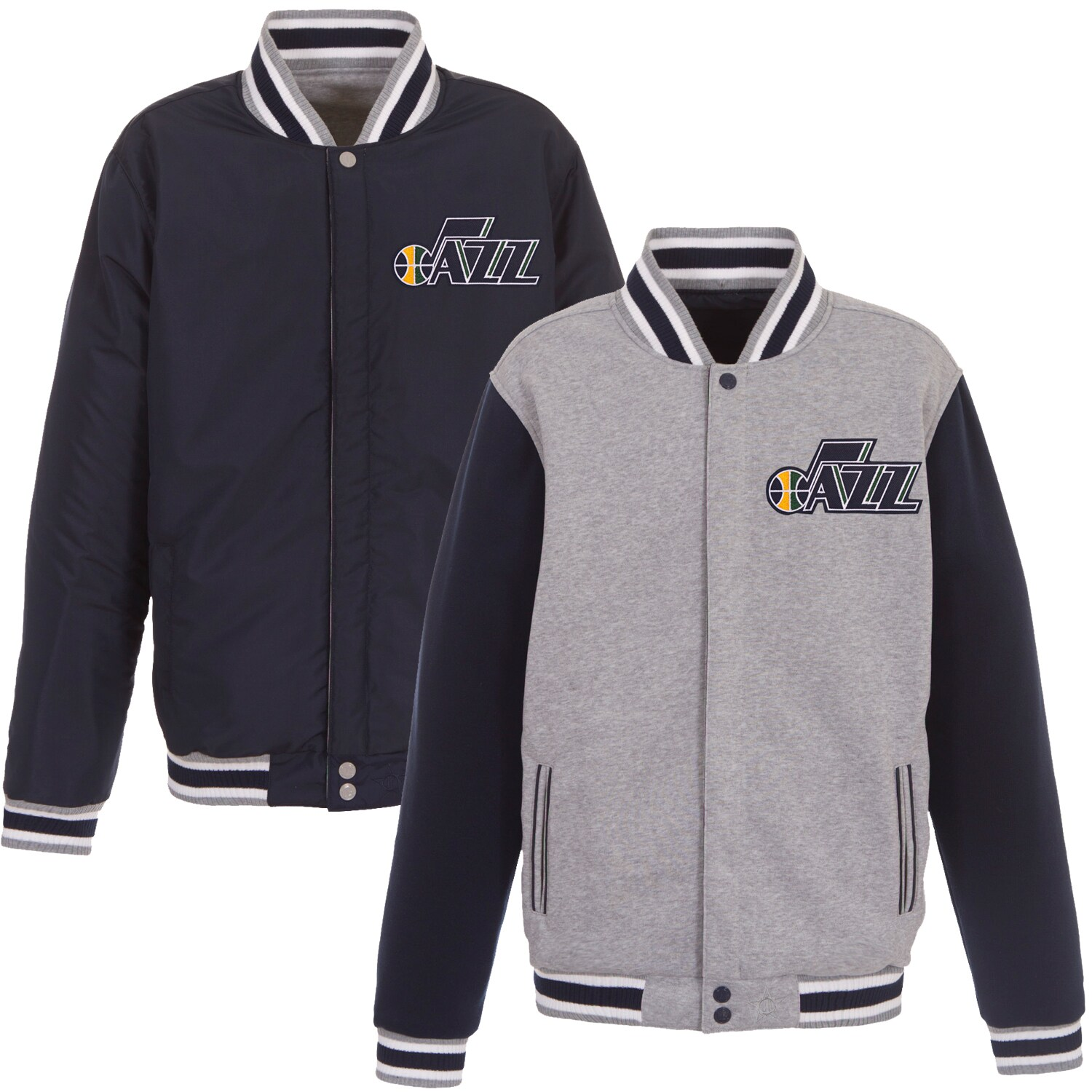 Utah Jazz JH Design Embroidered Logo Reversible Fleece Full-Snap Jacket - Gray/Navy
