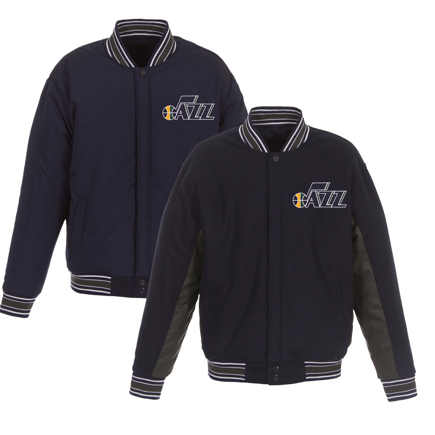 Utah Jazz JH Design Reversible Wool & Poly-Twill Full-Snap Jacket - Navy/Charcoal