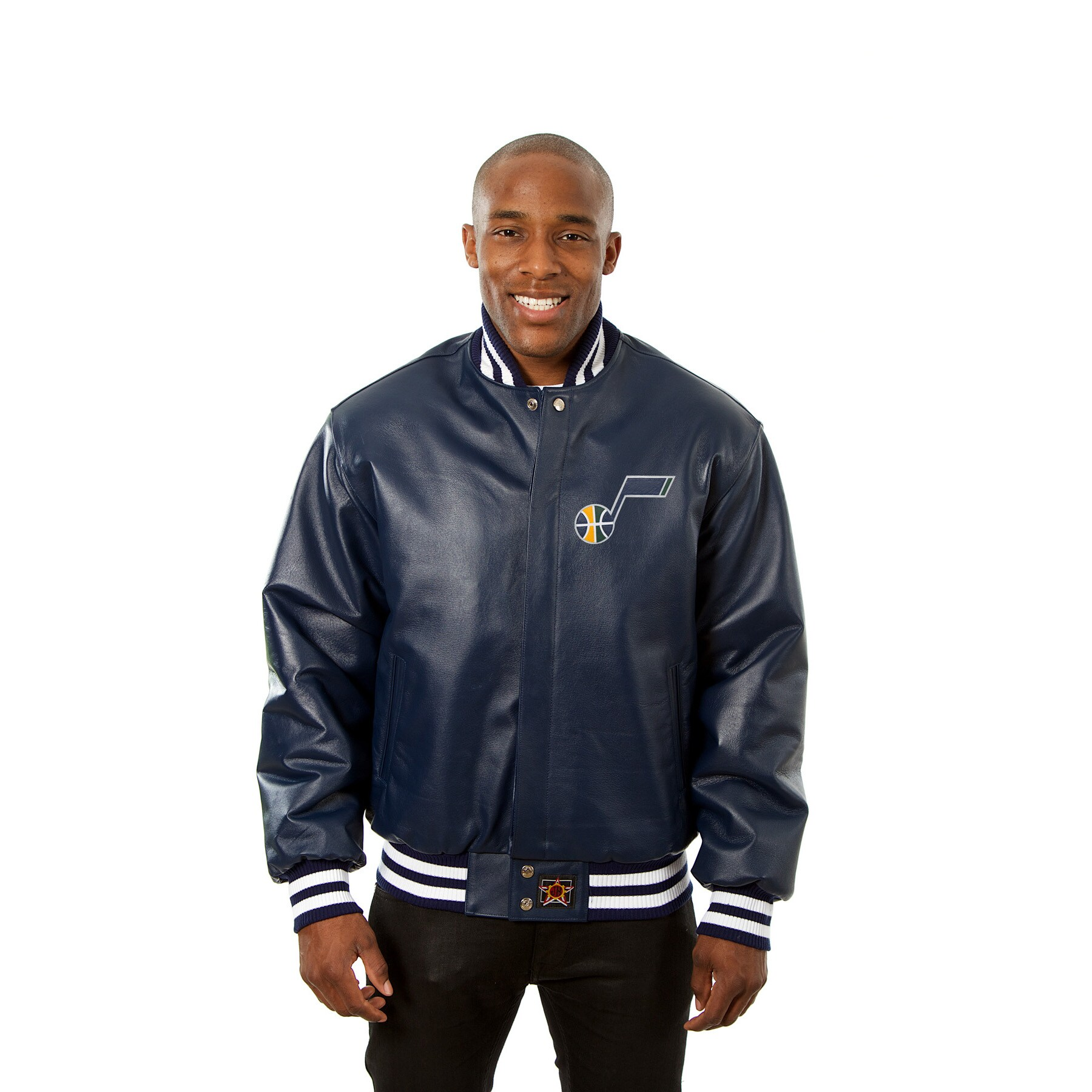 Utah Jazz JH Design Domestic Team Color Leather Jacket - Navy