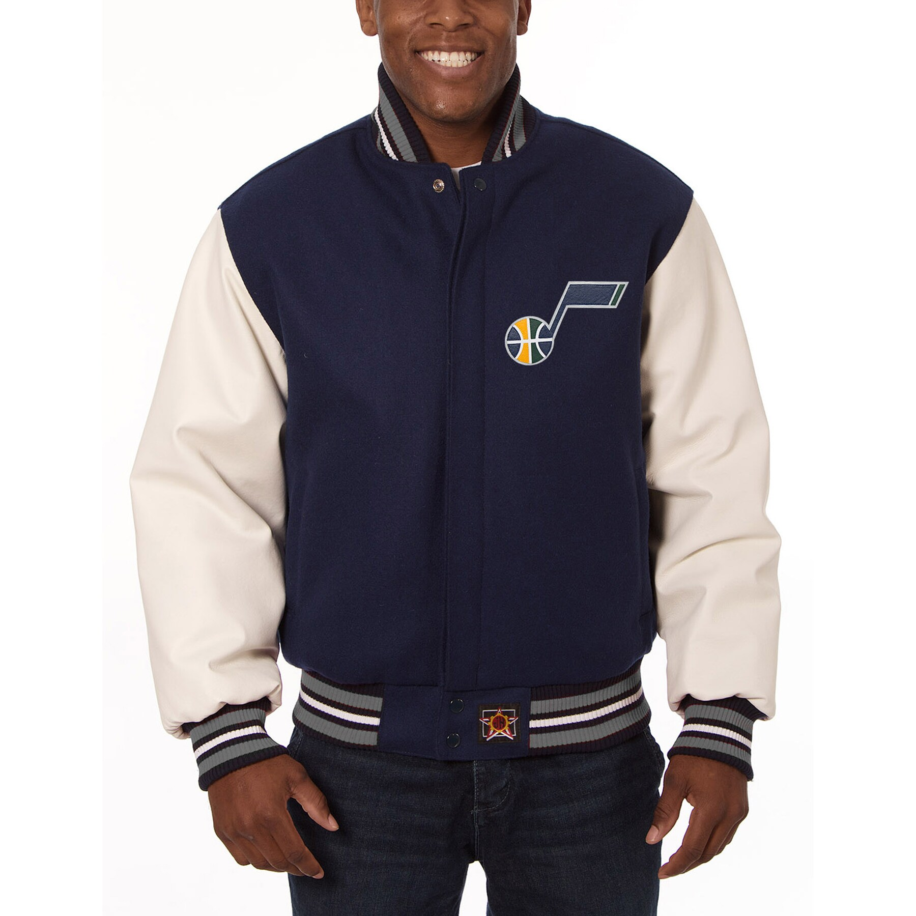 Utah Jazz JH Design Domestic Two-Tone Wool and Leather Jacket - Navy