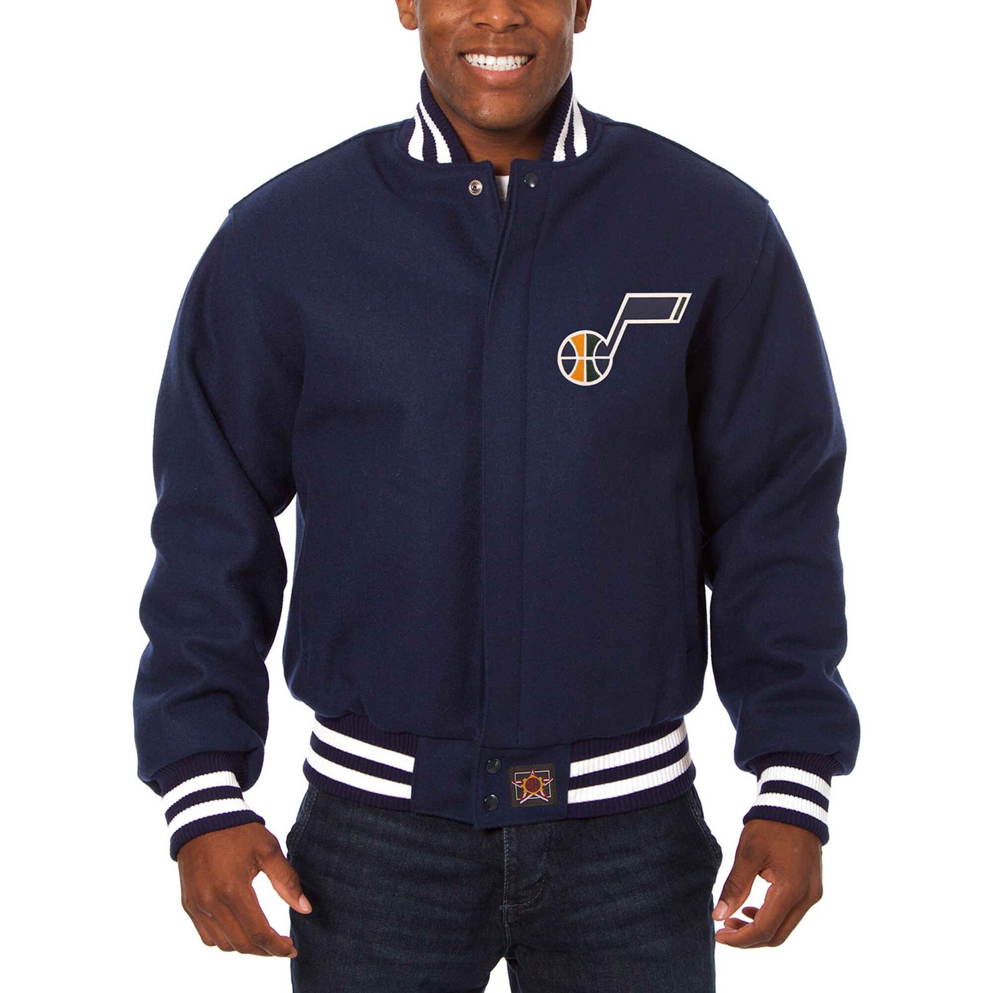 Utah Jazz JH Design Big & Tall All Wool Jacket with Leather Logo - Navy