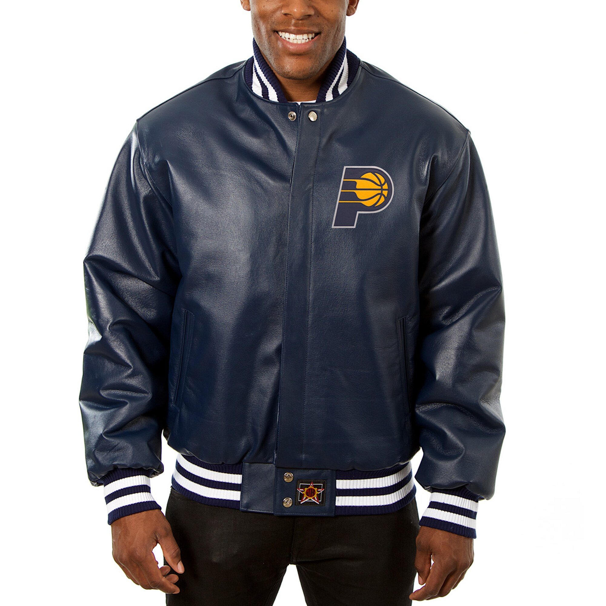 Indiana Pacers JH Design Big & Tall All-Leather Logo Full-Snap Jacket - Navy