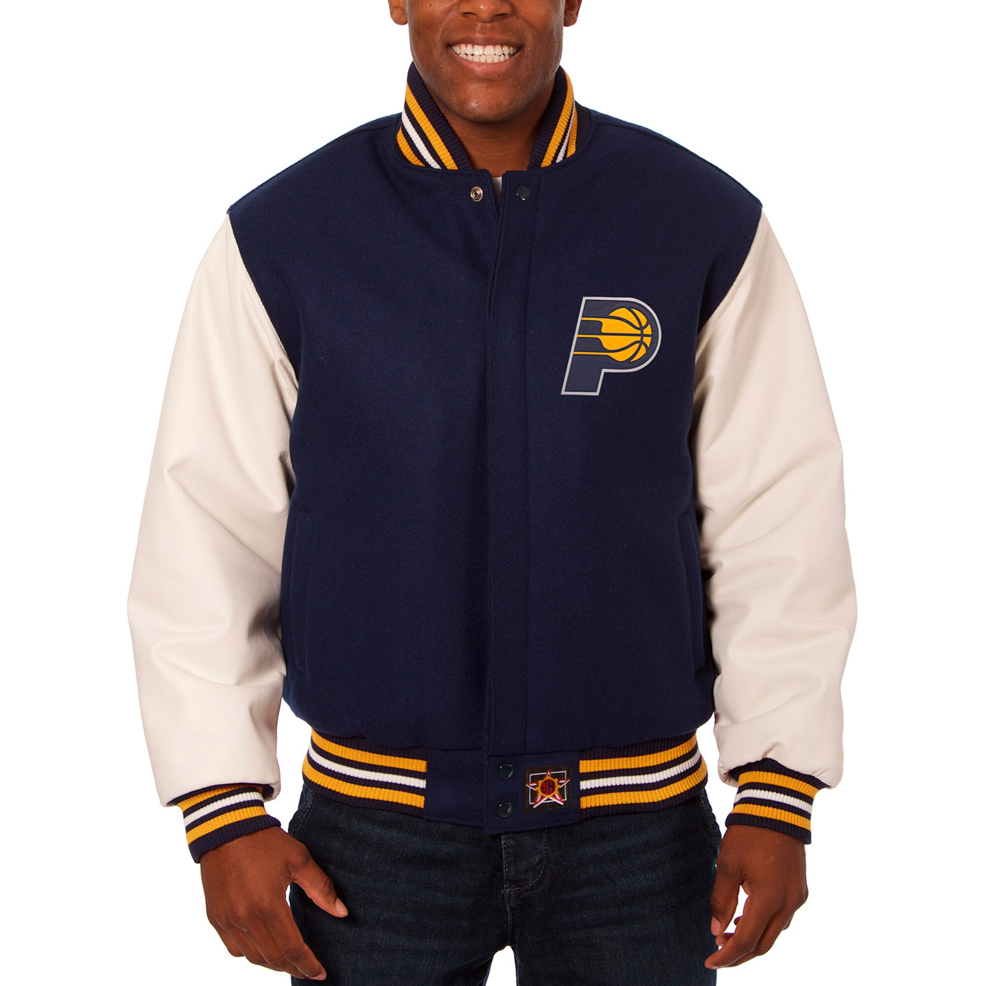 Indiana Pacers JH Design Big & Tall Wool & Leather Full-Snap Jacket - Navy/White