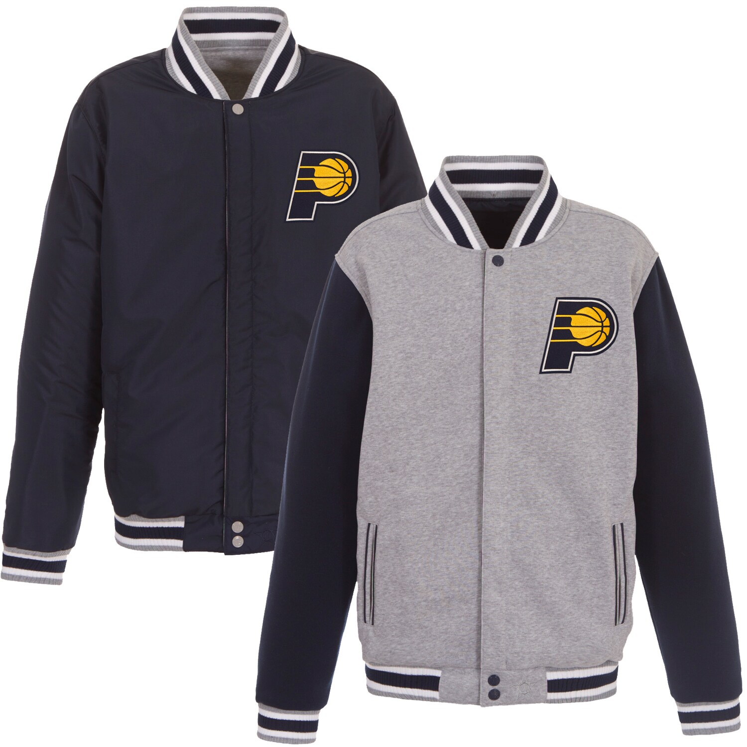 Indiana Pacers JH Design Embroidered Logo Reversible Fleece Full-Snap Jacket - Gray/Navy
