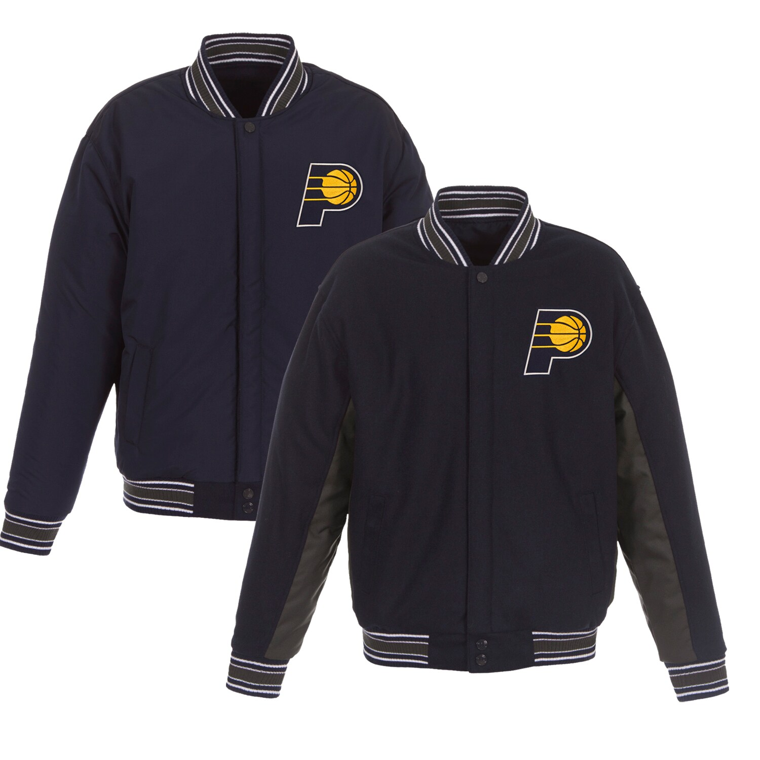 Indiana Pacers JH Design Reversible Wool & Poly-Twill Full-Snap Jacket - Navy/Charcoal