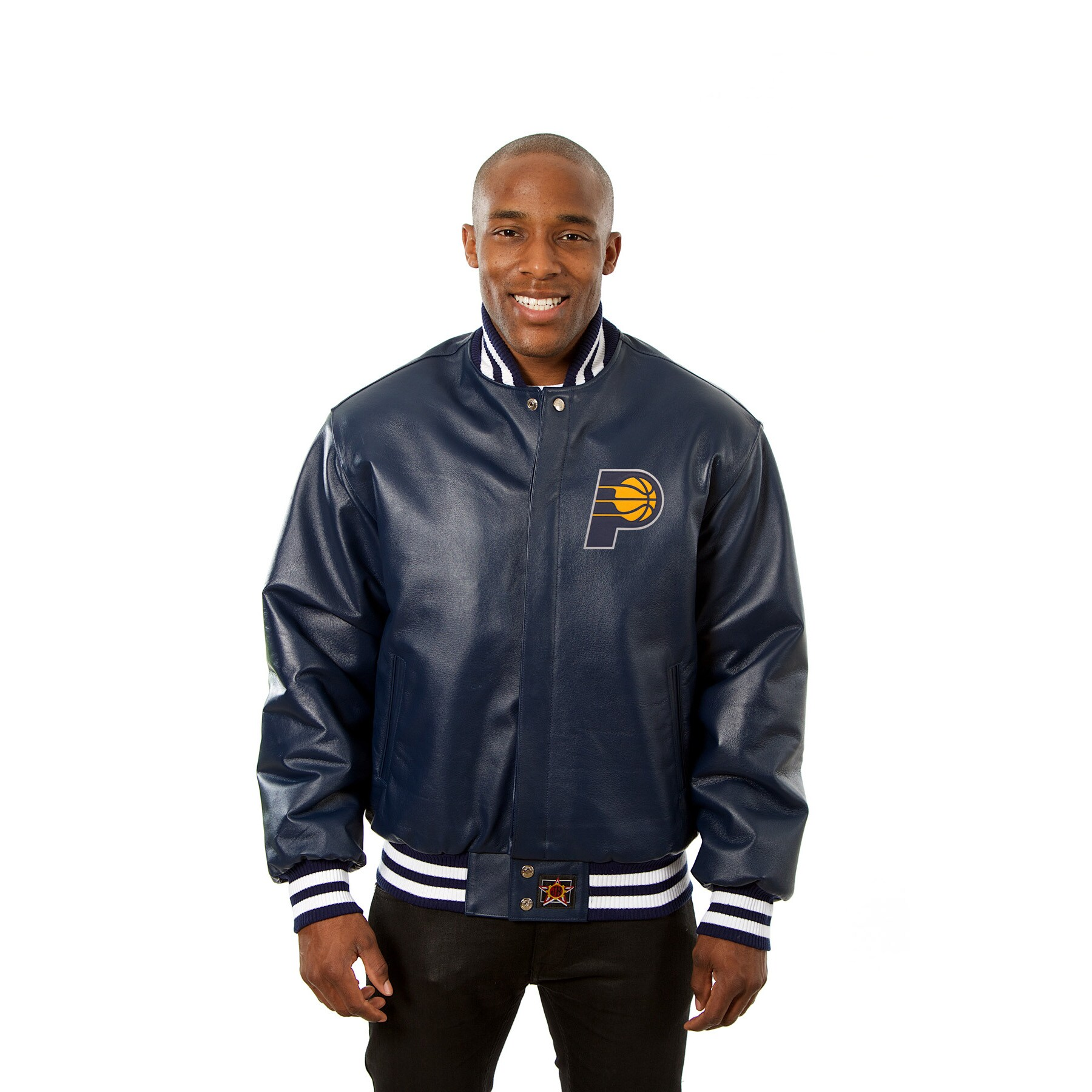 Indiana Pacers JH Design Domestic Team Color Leather Jacket - Navy