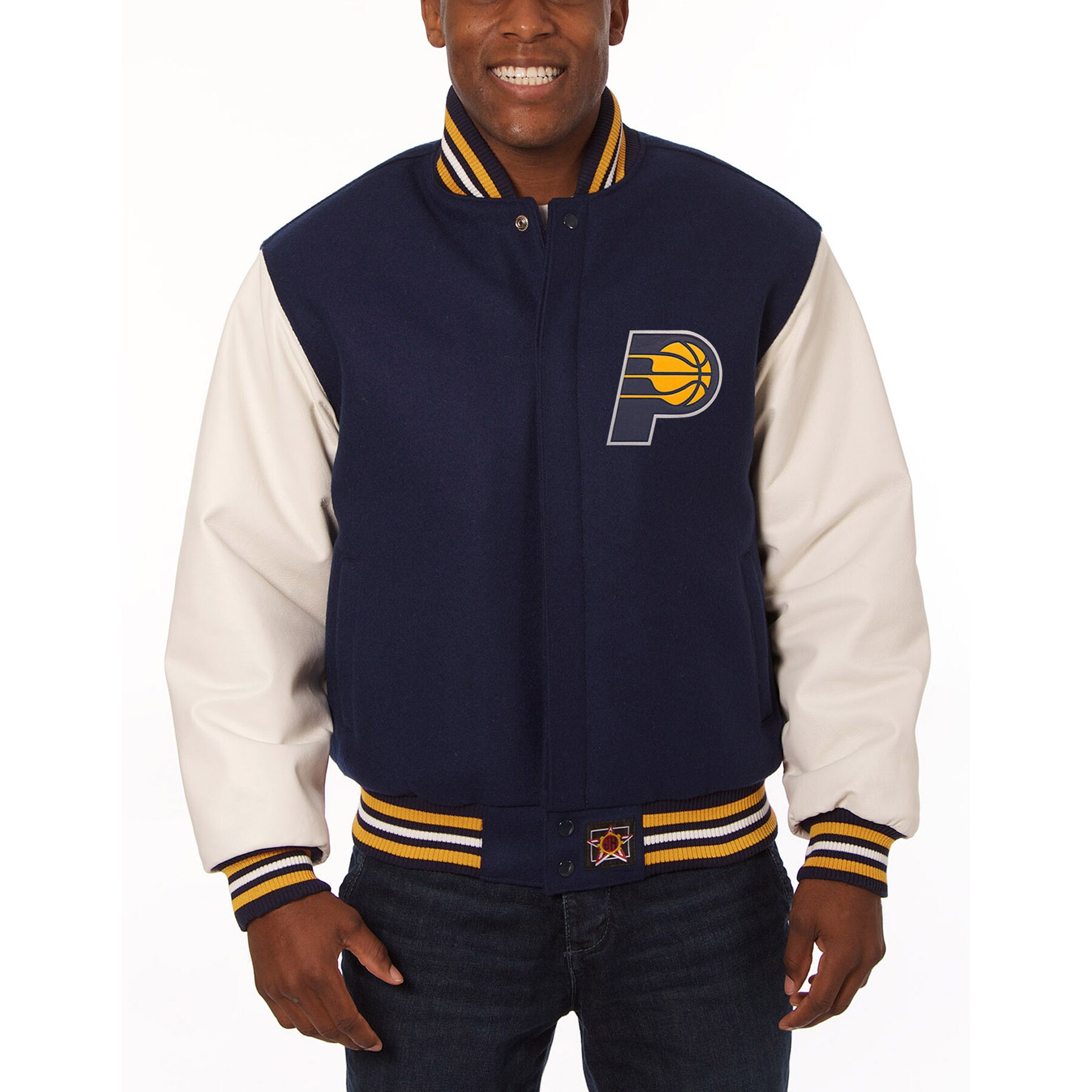 Indiana Pacers JH Design Domestic Two-Tone Wool and Leather Jacket - Navy