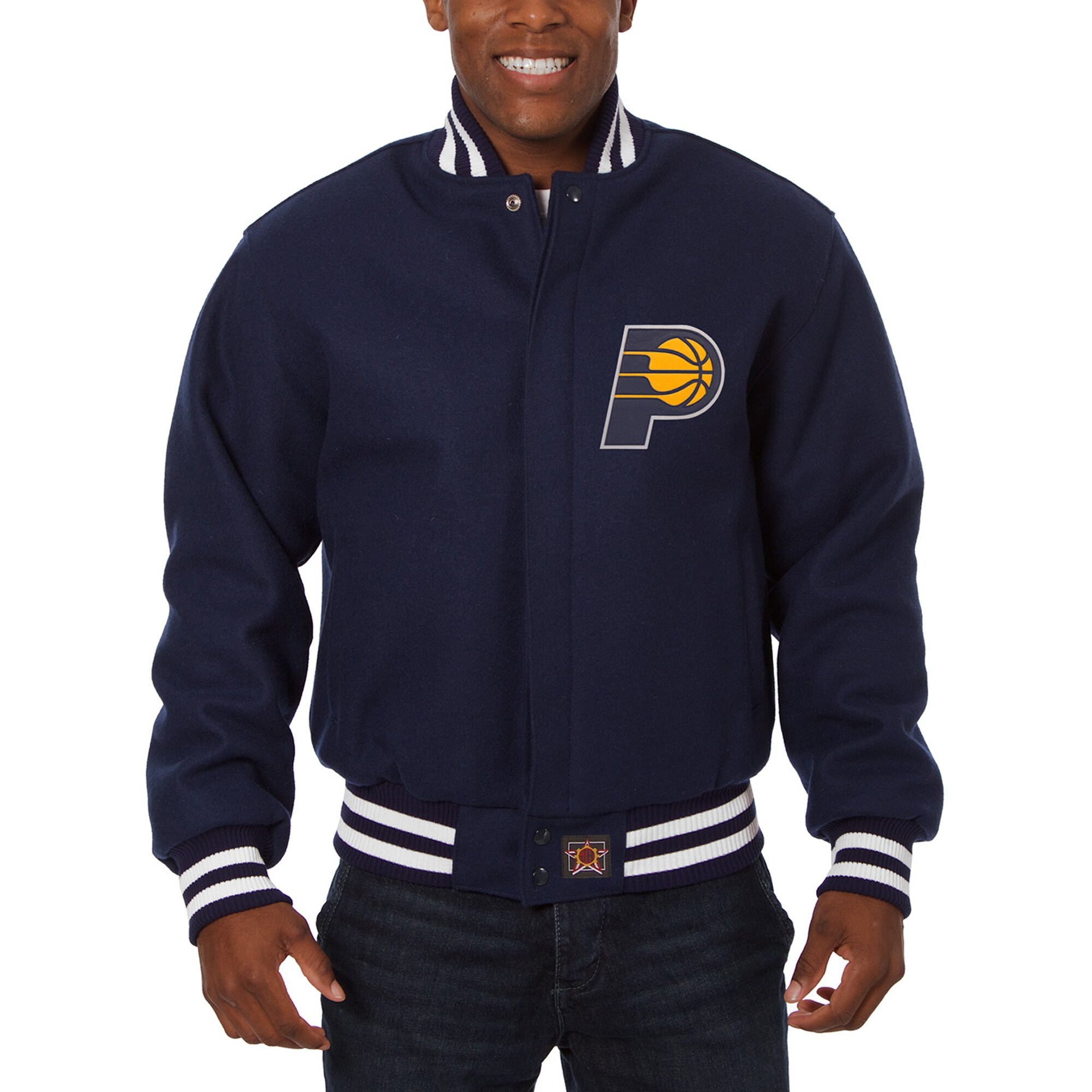 Indiana Pacers JH Design Big & Tall All Wool Jacket with Leather Logo - Navy