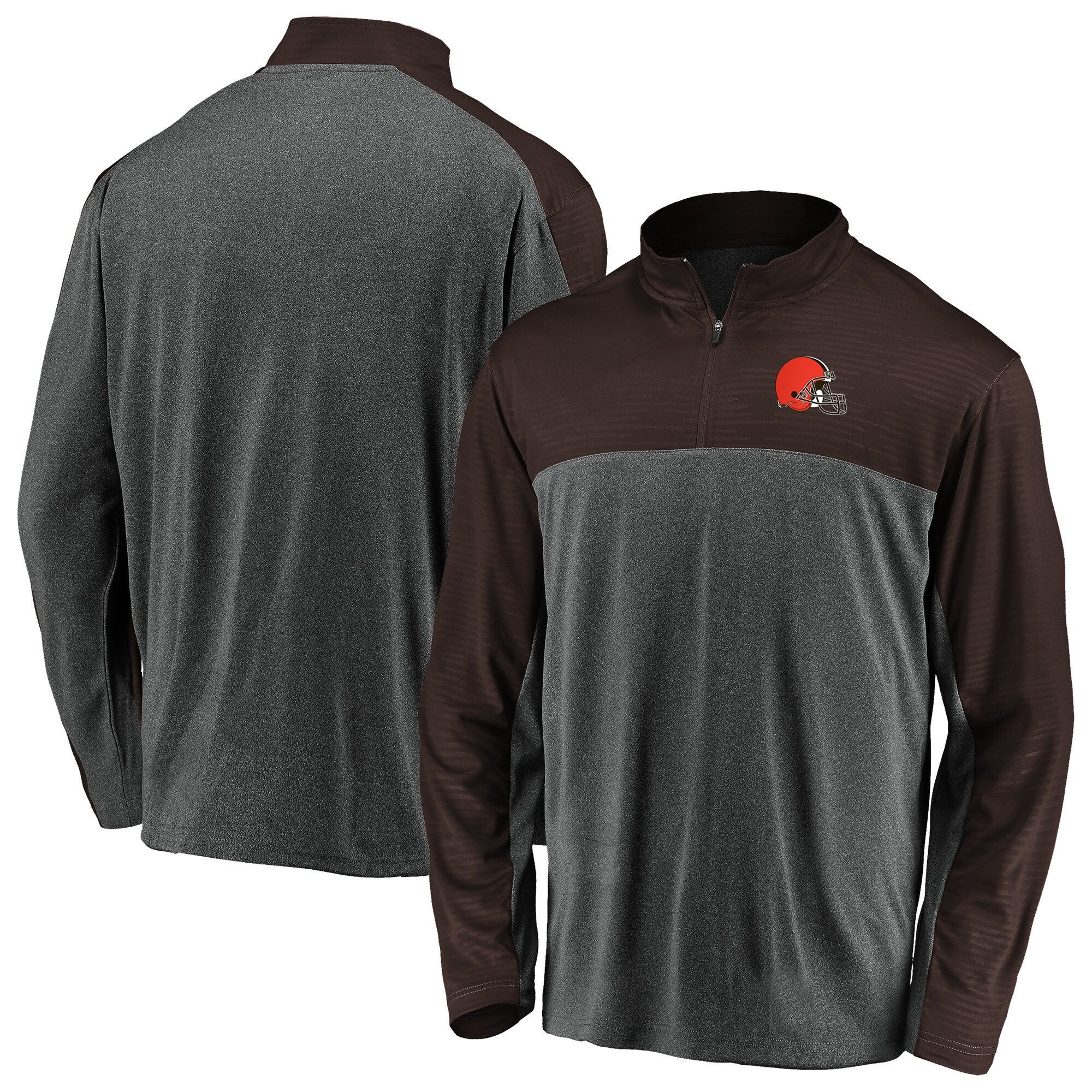 Cleveland Browns NFL Pro Line by Fanatics Branded Colorblock Quarter-Zip Pullover Jacket - Charcoal/Brown