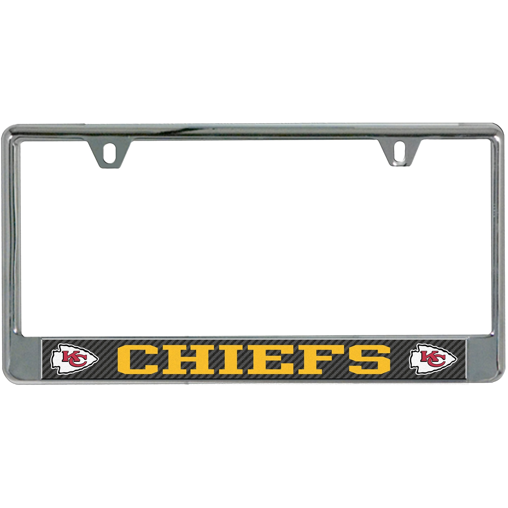 Kansas City Chiefs Carbon Bottom Only Metal Acrylic Cut License Plate Frame