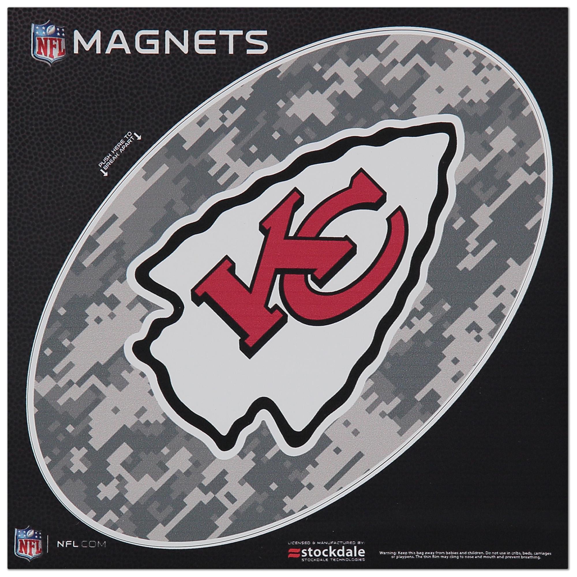 """Kansas City Chiefs 6"""" x 6"""" Digi Camo Oval Car Magnet"""